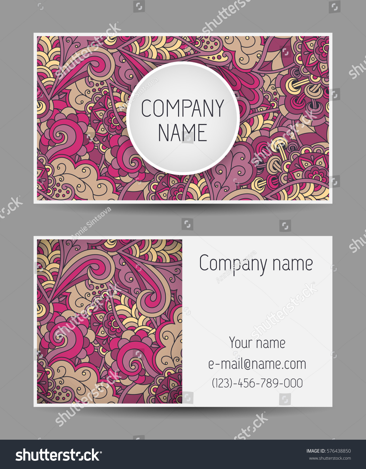 Vector template business card colorful doodle stock vector vector template business card colorful doodle ornament main page side and back side business magicingreecefo Images