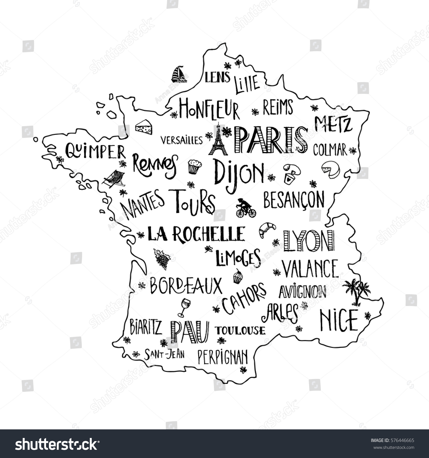 Hand Drawn Map France Lettering Main Stock Vector - Map of main