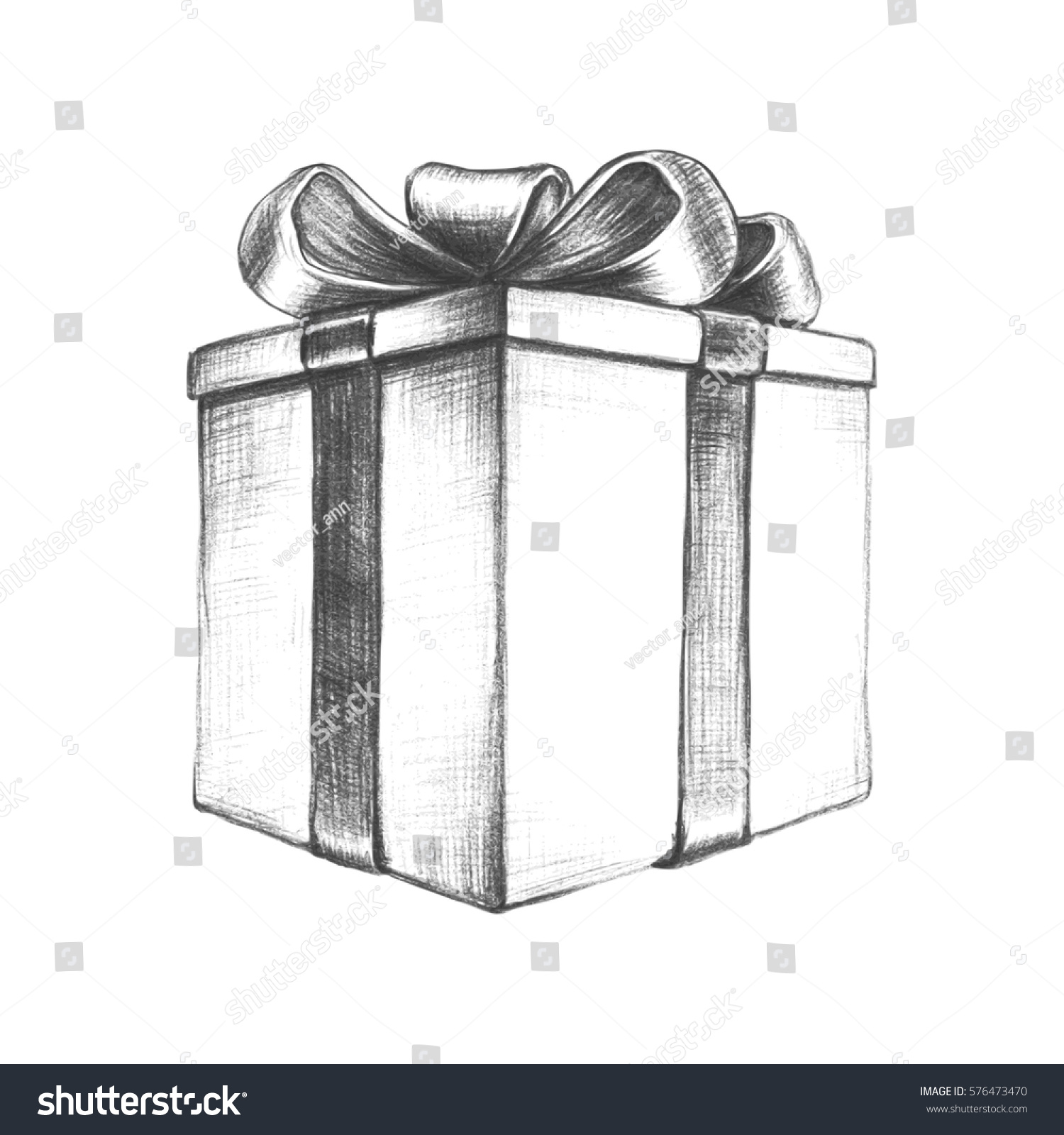 Pencil sketch of present box with a bow and ribbon hand drawn vector vintage