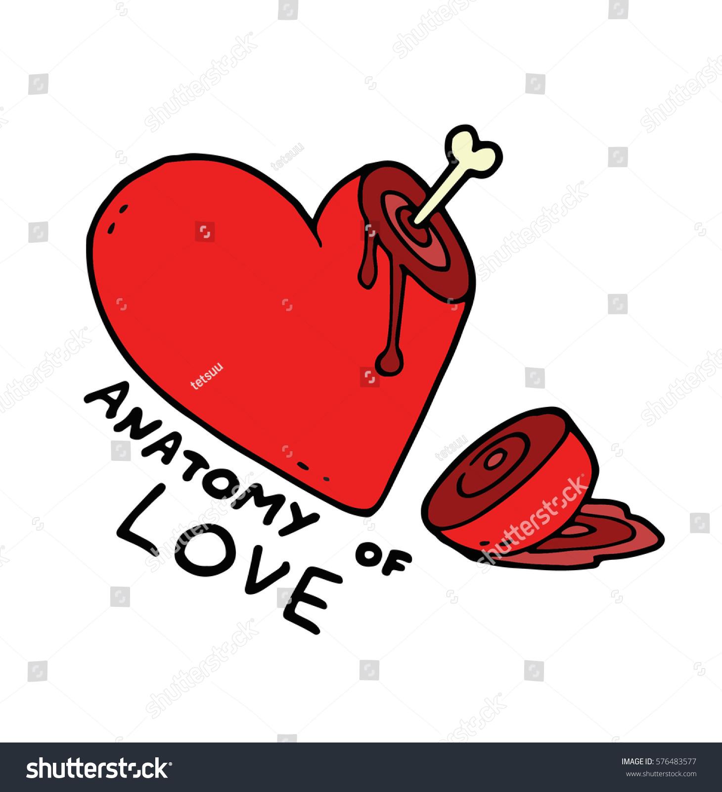 Heart Cut Part Lying Blood Bone Stock Vector (2018) 576483577 ...