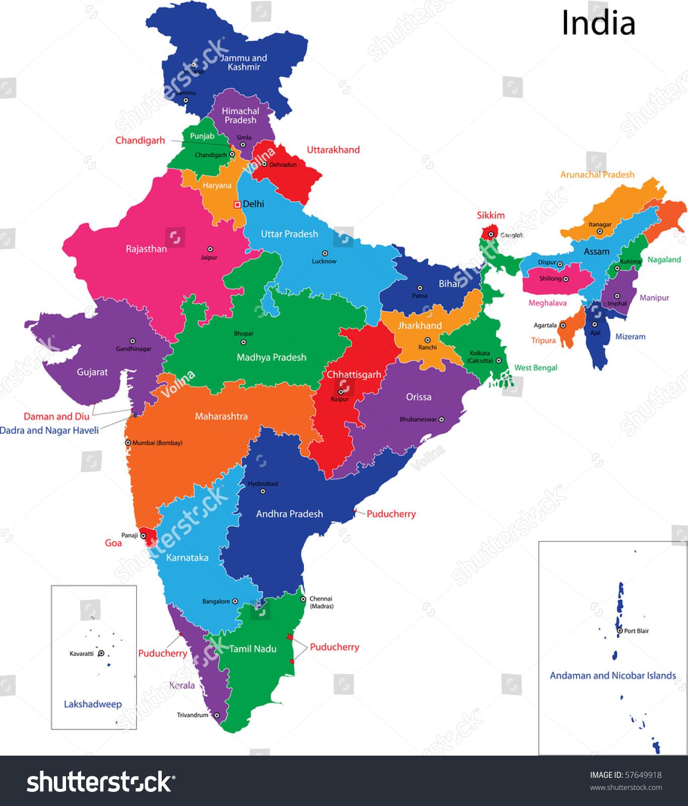 Map Republic India States Colored Bright Stock Illustration 57649918 ...