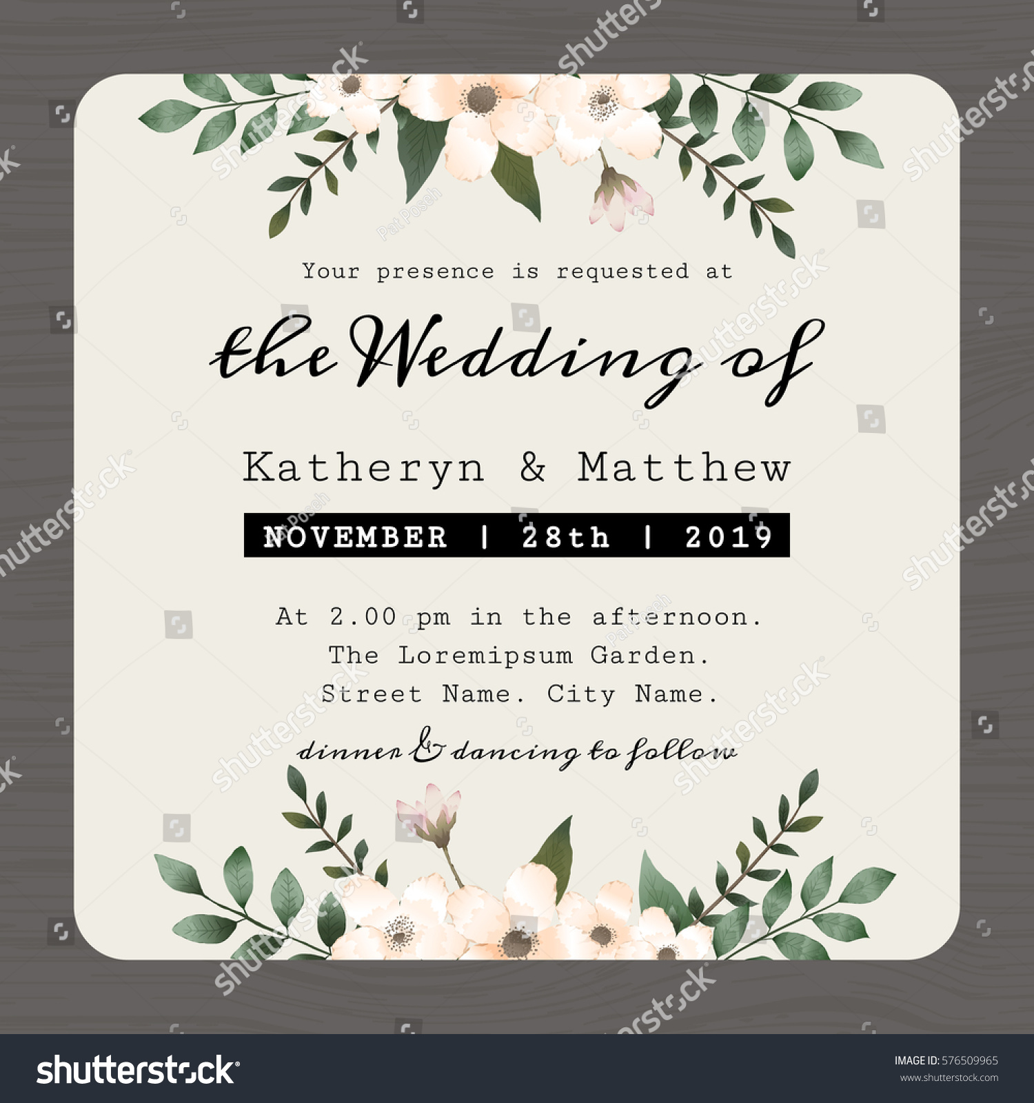 Modern Vintage Save Date Wedding Invitation Stock Vector (Royalty ...