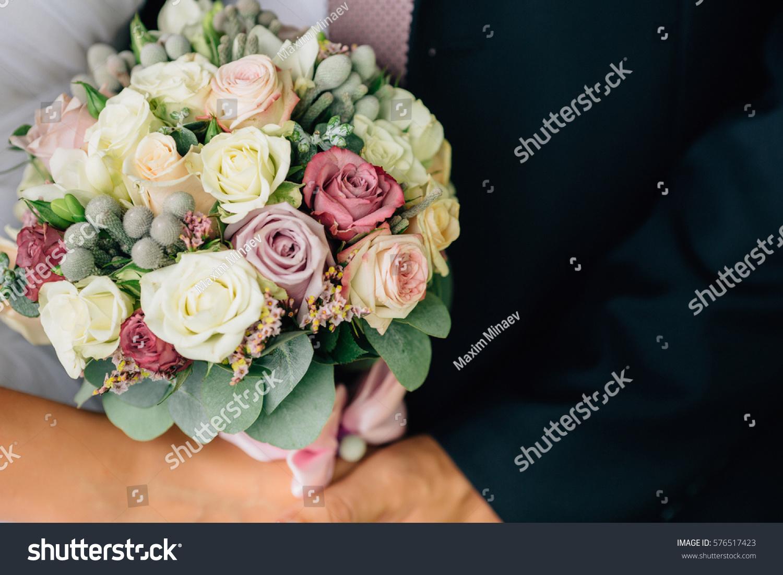 Beautiful Bridal Bouquet Spring Bouquet Flowers Stock Photo Edit Now 576517423