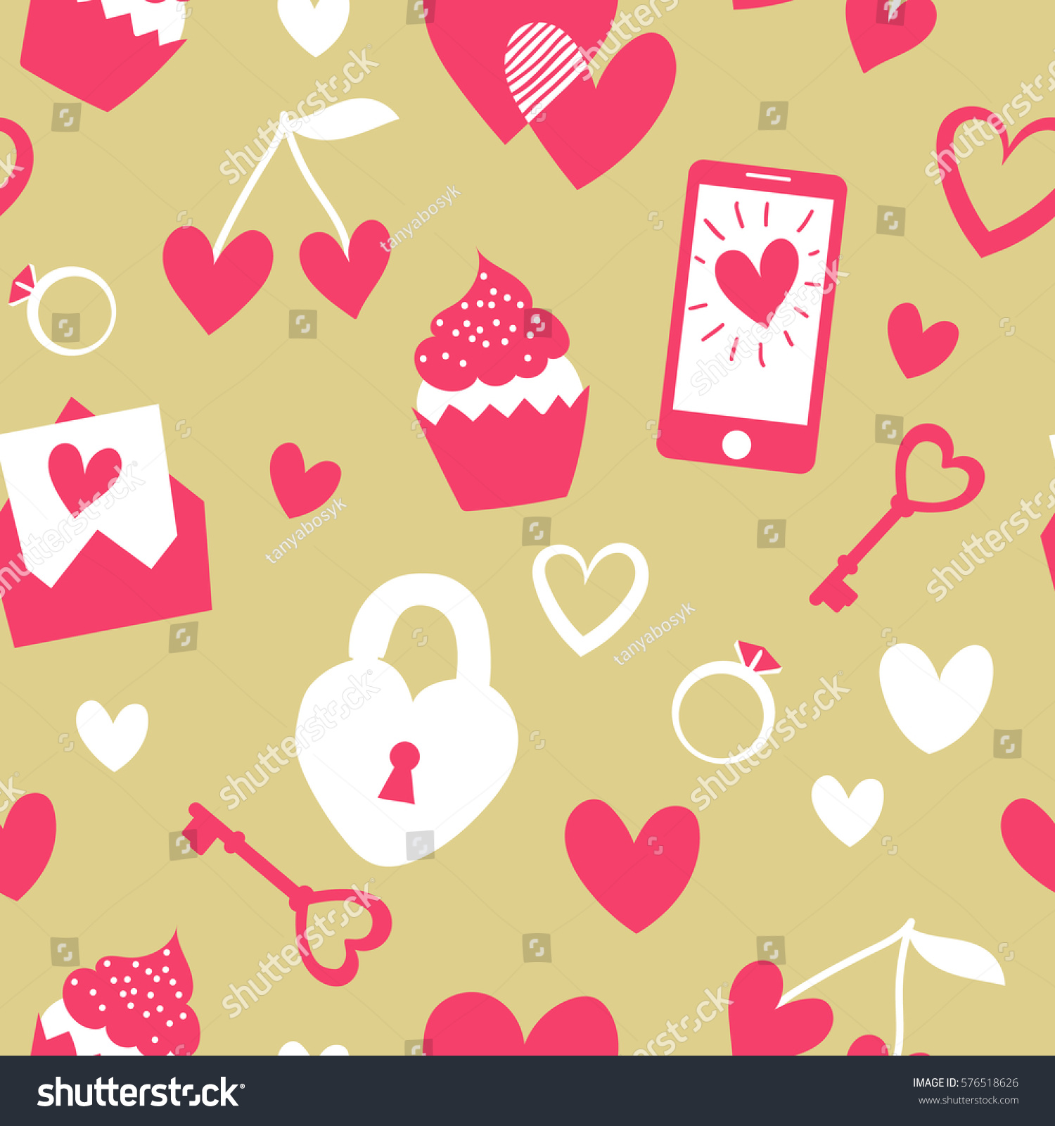 Valentines Day Seamless Pattern Flat Cartoon Elements On Gold Background Cute Girly Stuff