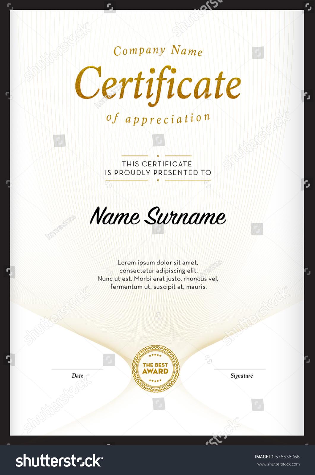 Certificate Template Vector Diploma Border Stock Vector 576538066 ...