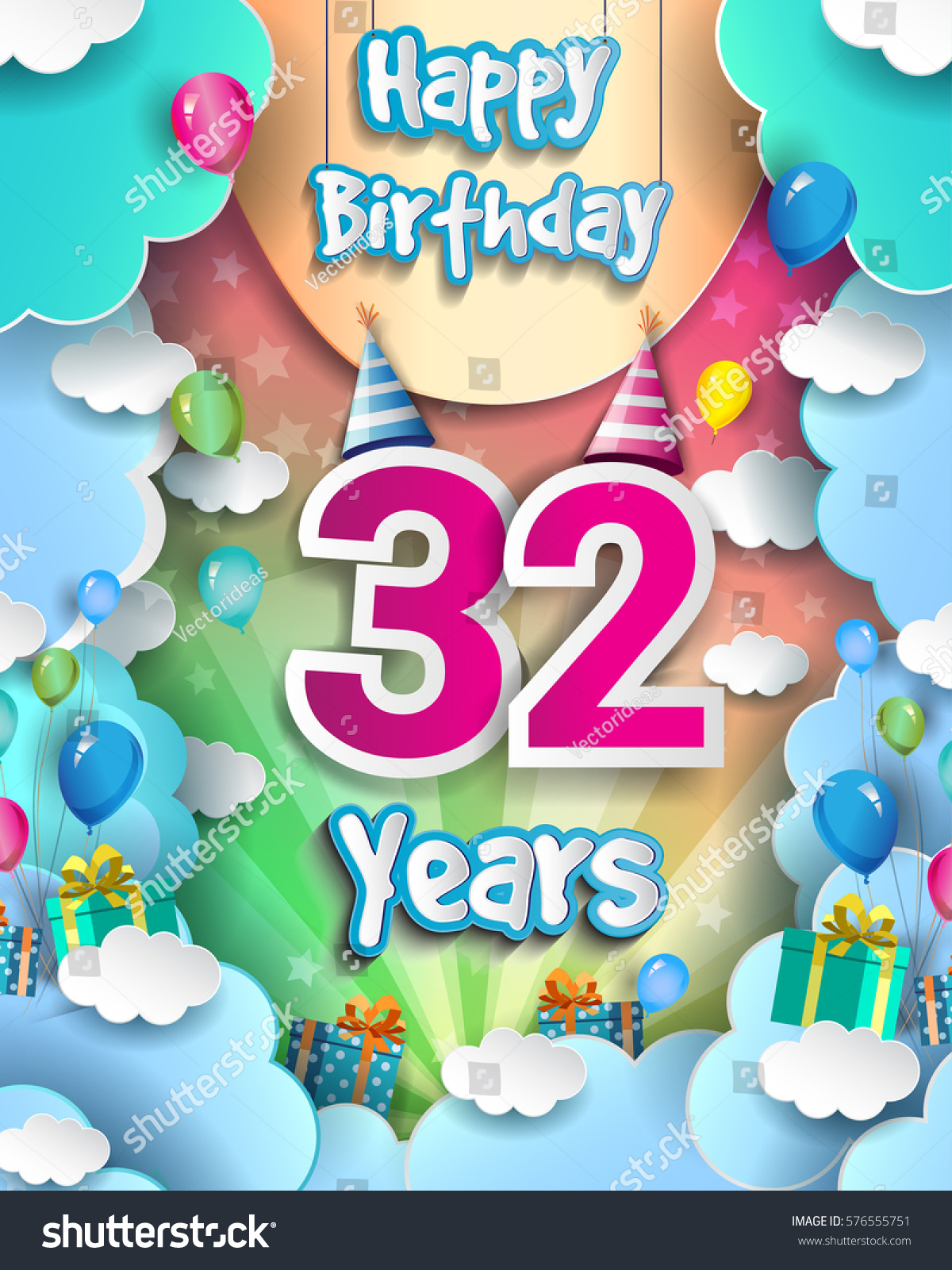 32 Years Birthday Celebration Design Greeting Stock Vector