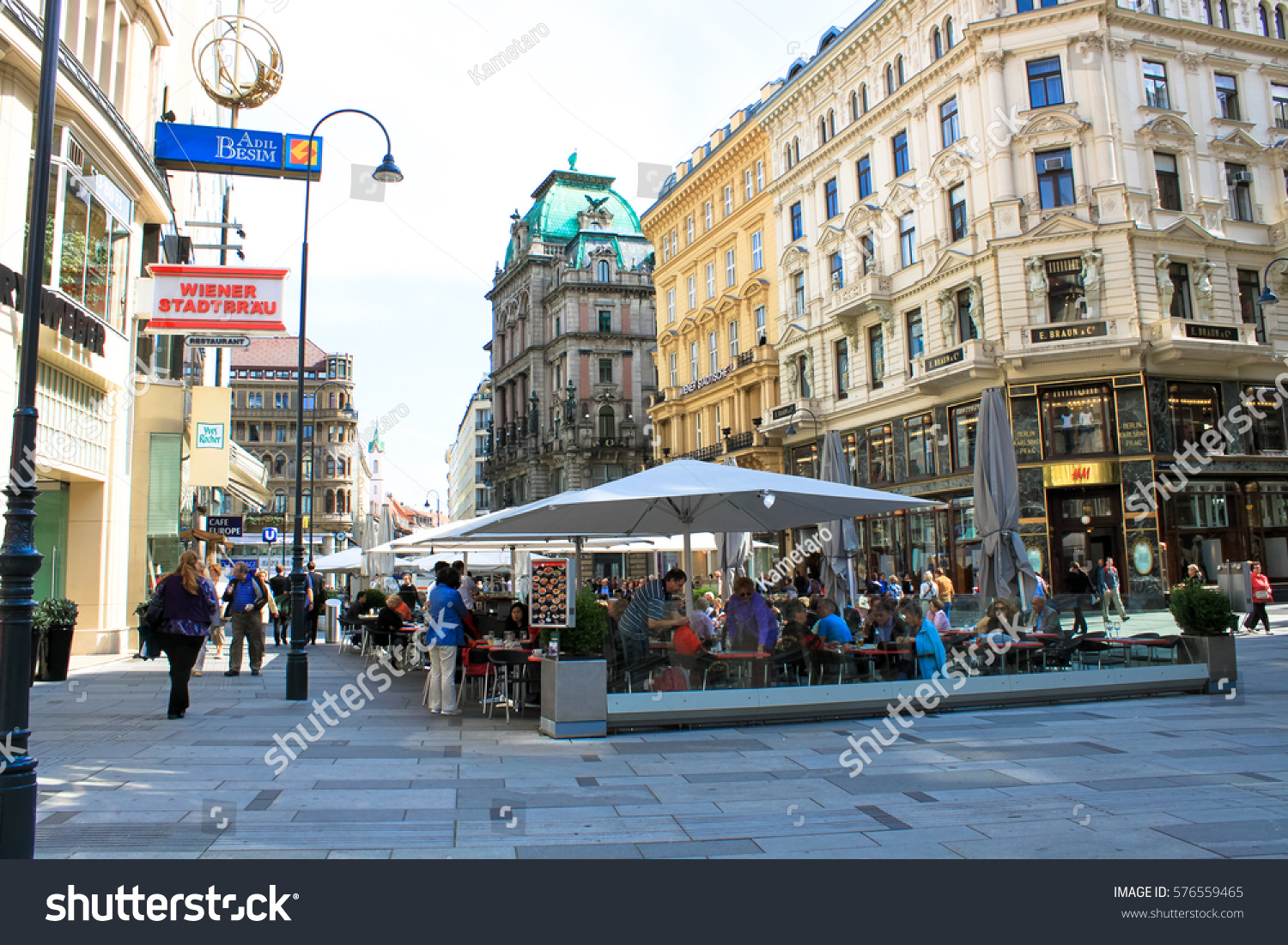 Vienna City Center Shopping Street Vienna Stock Photo ...