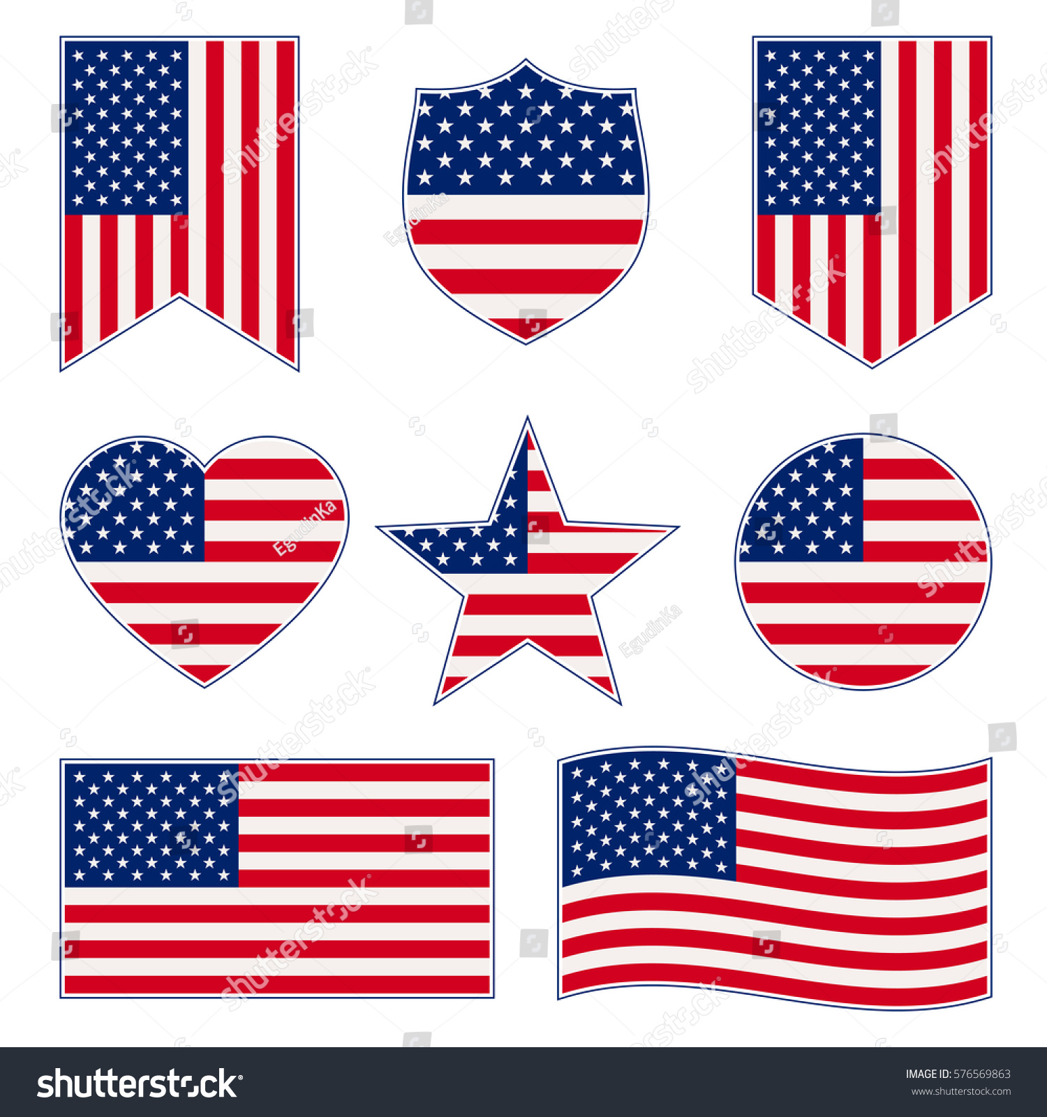 Set American Flags Different Shapes Frame Stock Vector 576569863