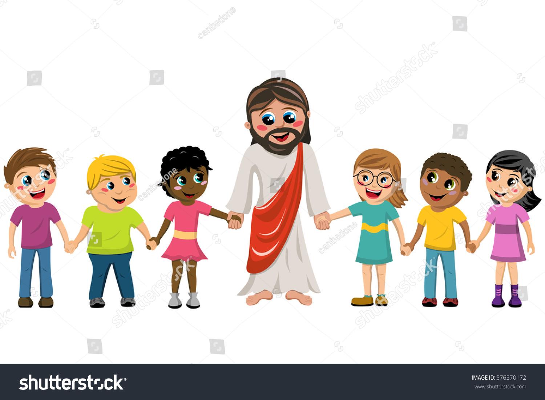 cartoon jesus hand hand kids children stock vector 576570172