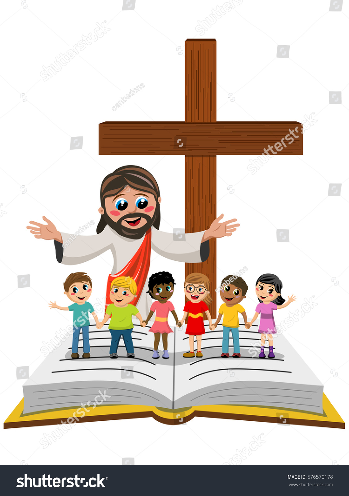 cartoon open arms jesus front kids stock vector 576570178