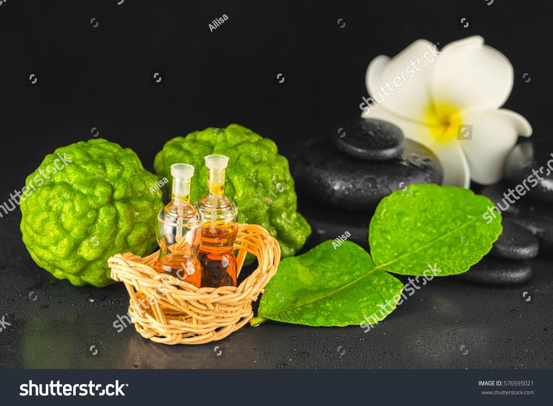 Spa Concept Bergamot Leaf Fragrance Oil Stock Photo (Edit Now