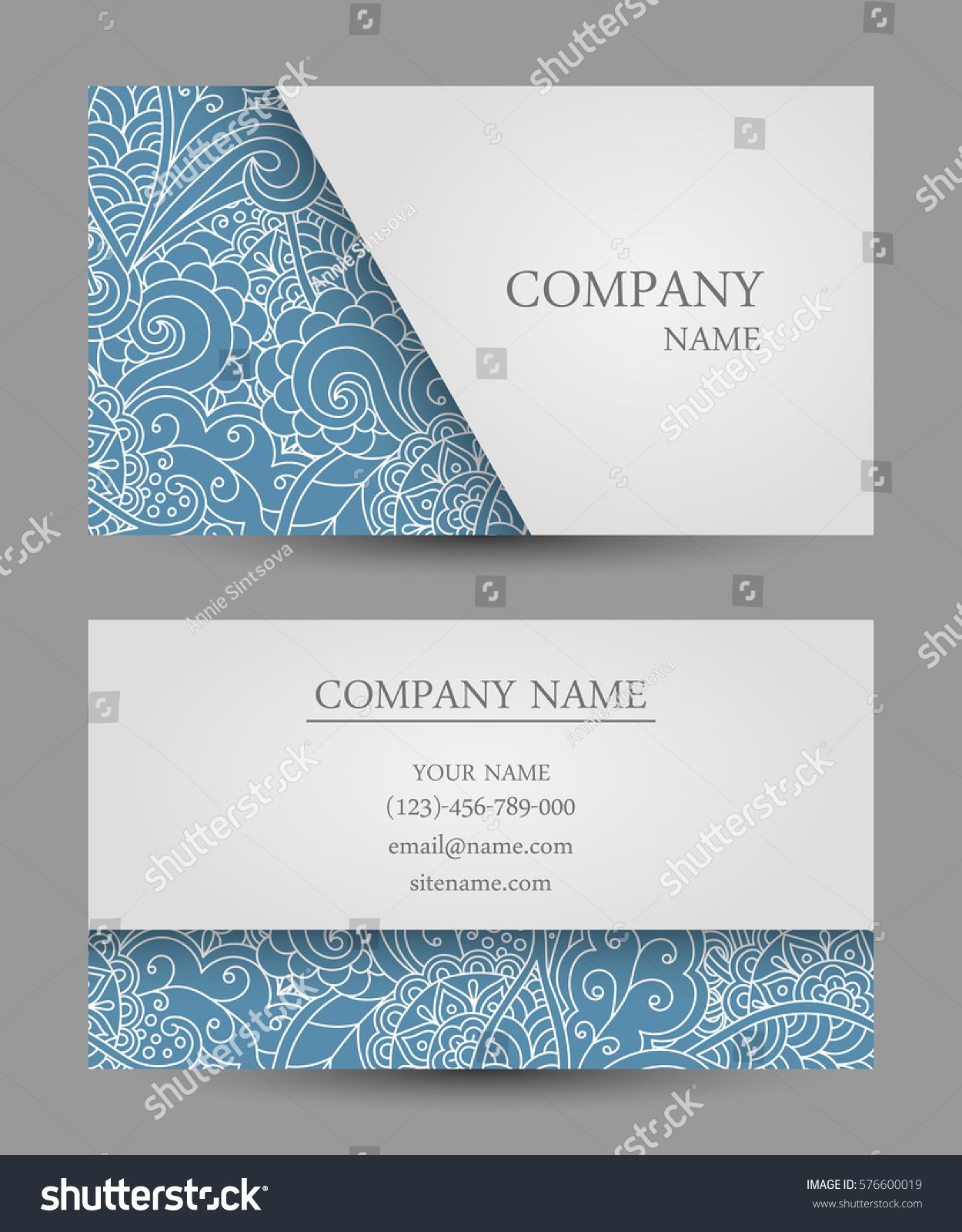 Vector Template Business Card Colorful Doodle Stock Vector ...