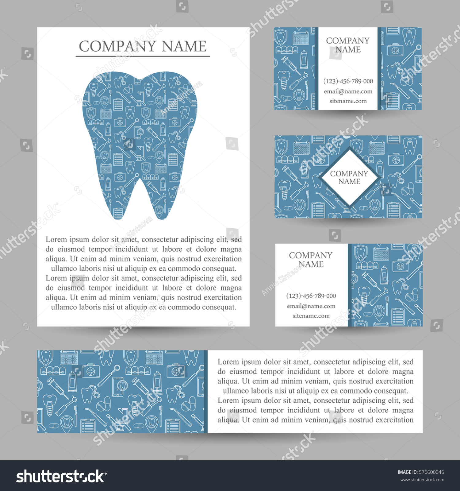 vector set business card templates dental stock vector