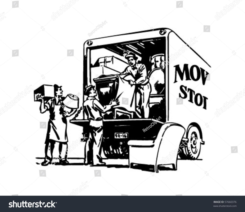 Packing Moving Van Retro Clip Art Stock Vector 57660376 Shutterstock