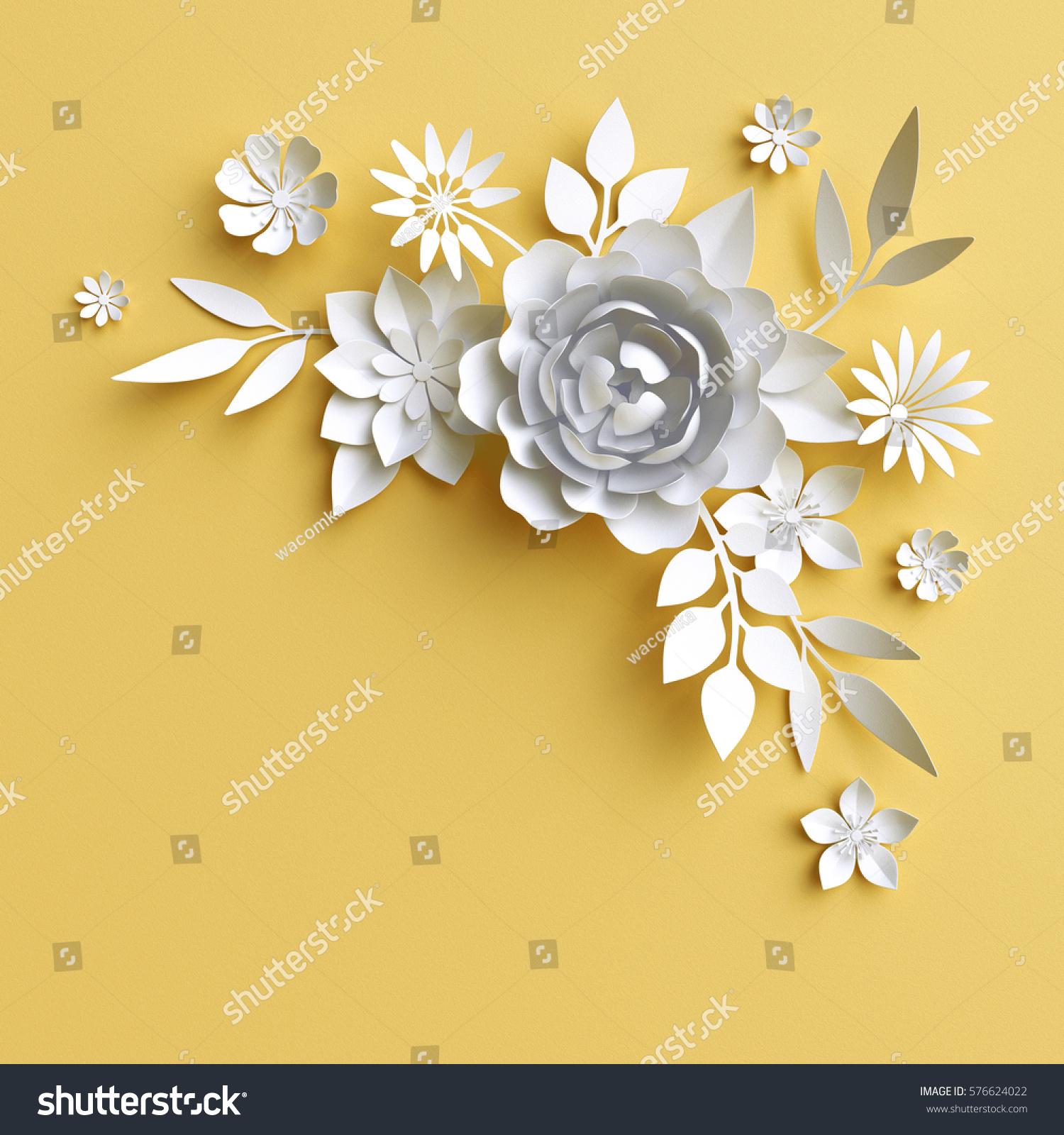 3d Render Digital Illustration White Paper Flowers On Yellow
