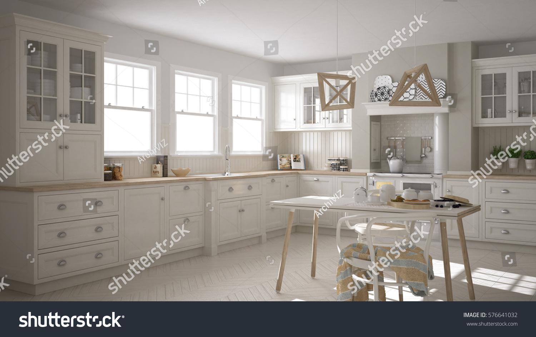 Scandinavian Classic White Kitchen With Wooden Details, Minimalistic Interior  Design, 3d Illustration