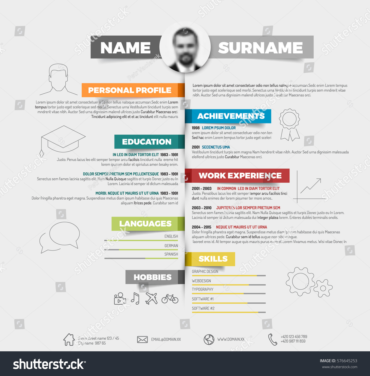 vector minimalist cv resume template colorful stock vector 576645253