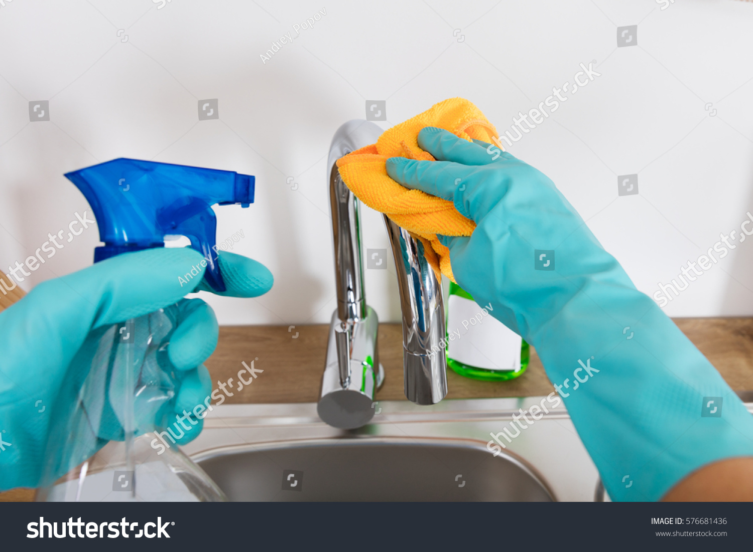 Person Cleaning Sink Tap Kitchen Cloth Stock Photo (Royalty Free ...