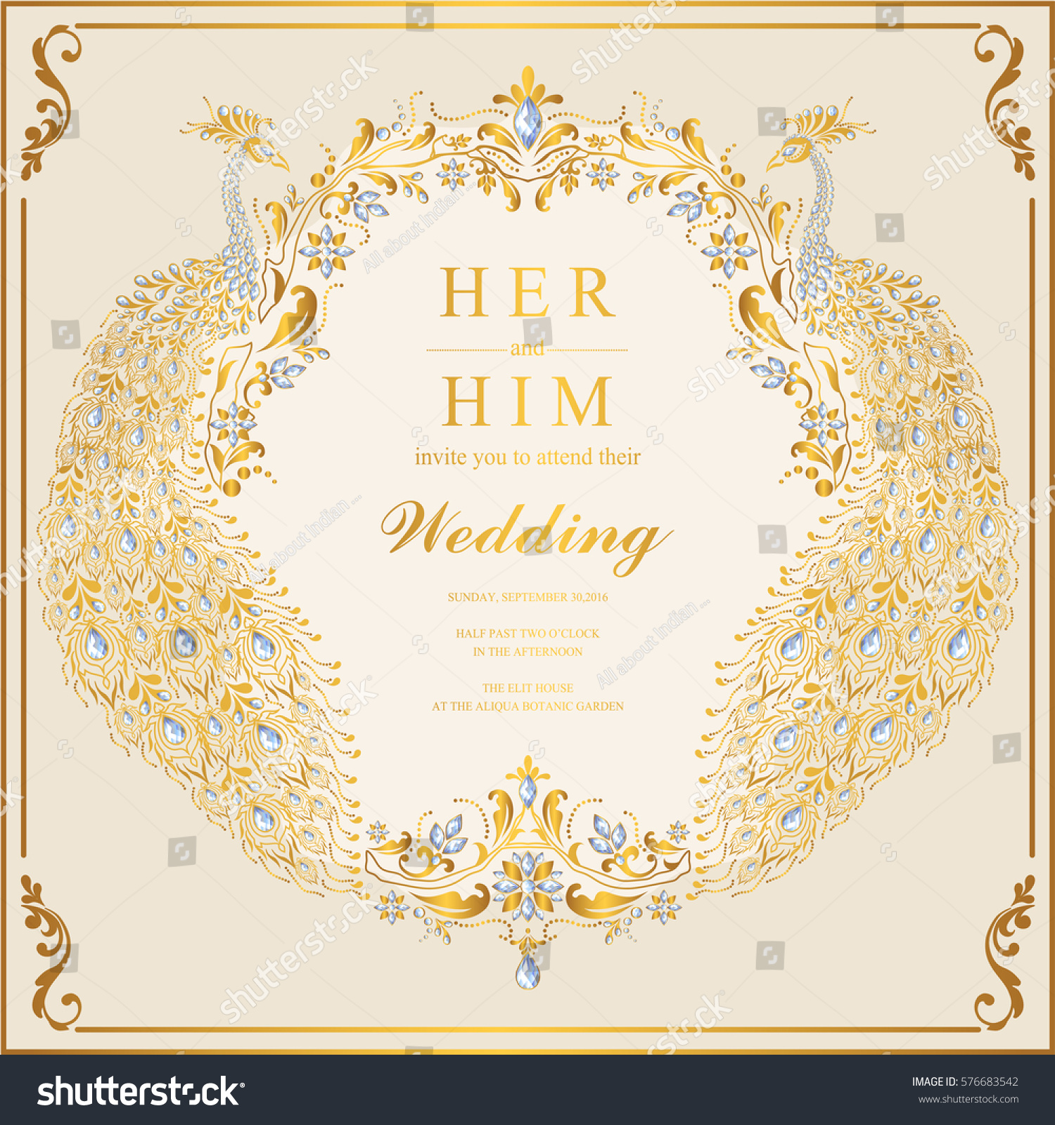 Indian Wedding Invitation Card Templates Gold Stock Vector 576683542 ...