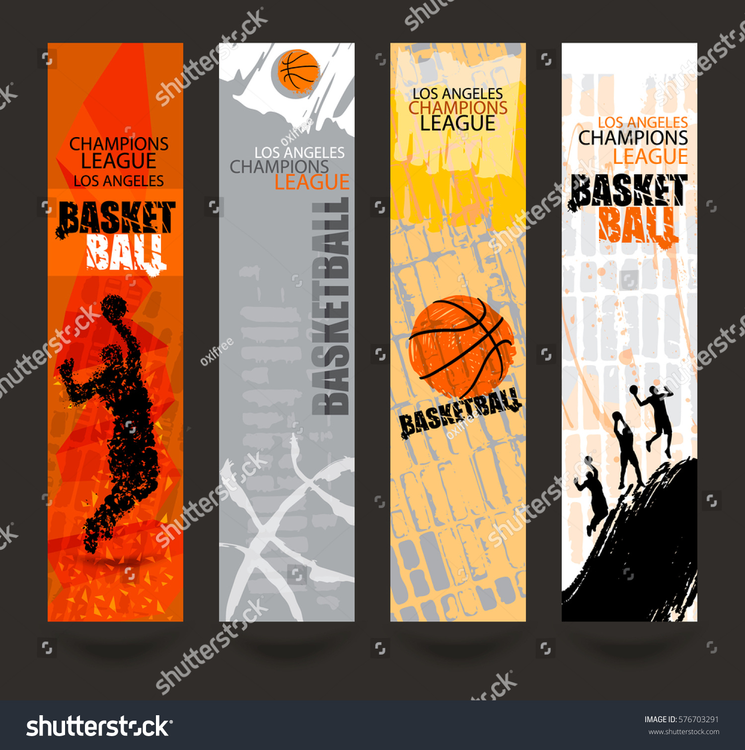 set banners basketball sports templates grunge stock vector royalty