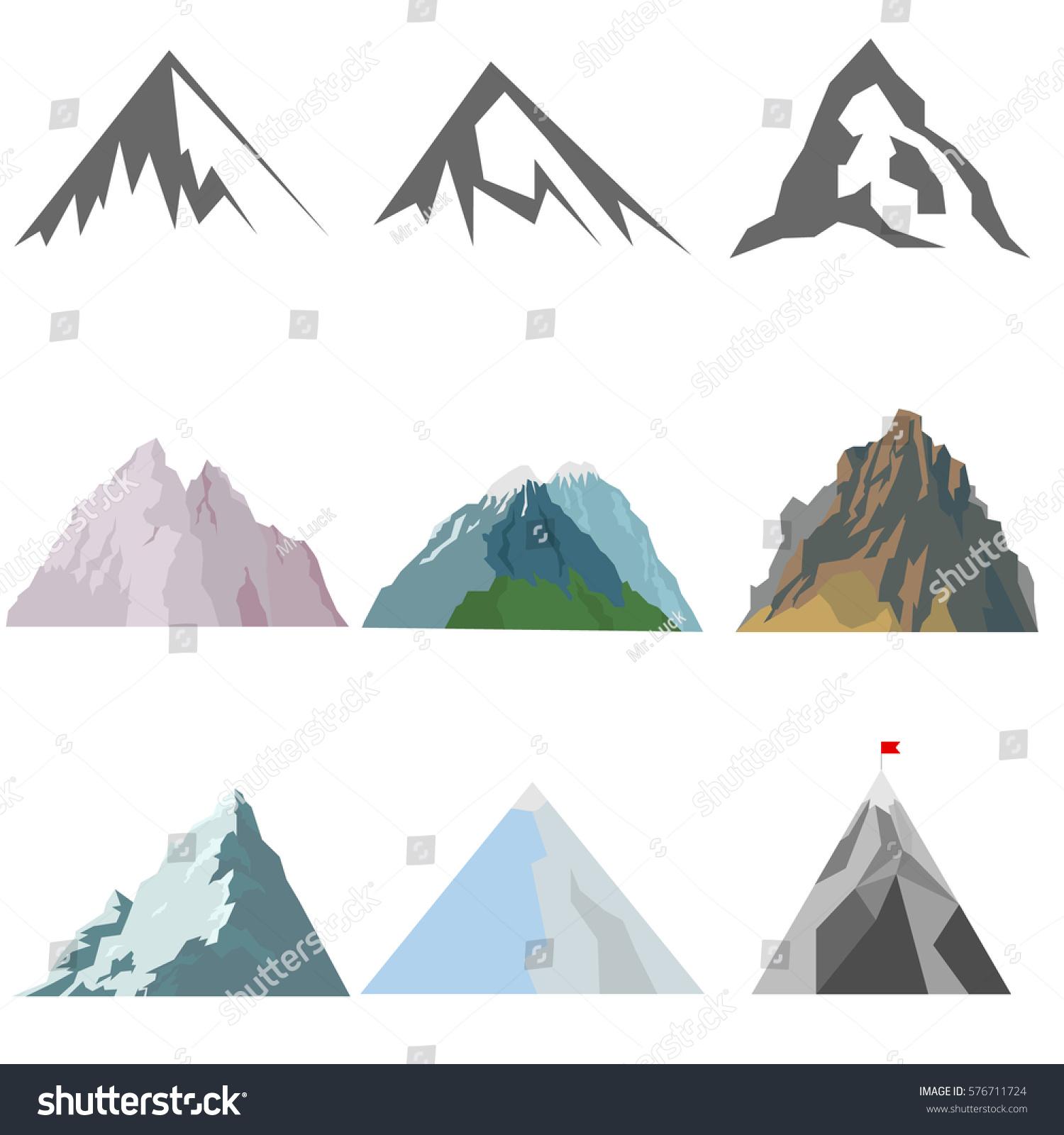 Mountains Mountain Icon Stone Rock Flat Stockvector ...
