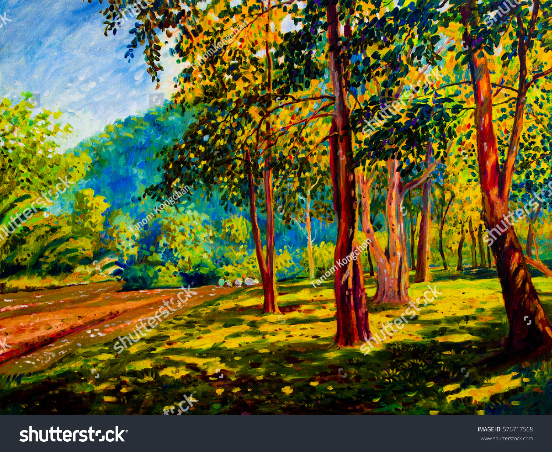 Oil Color Painting Landscape Original On Stock Illustration ...