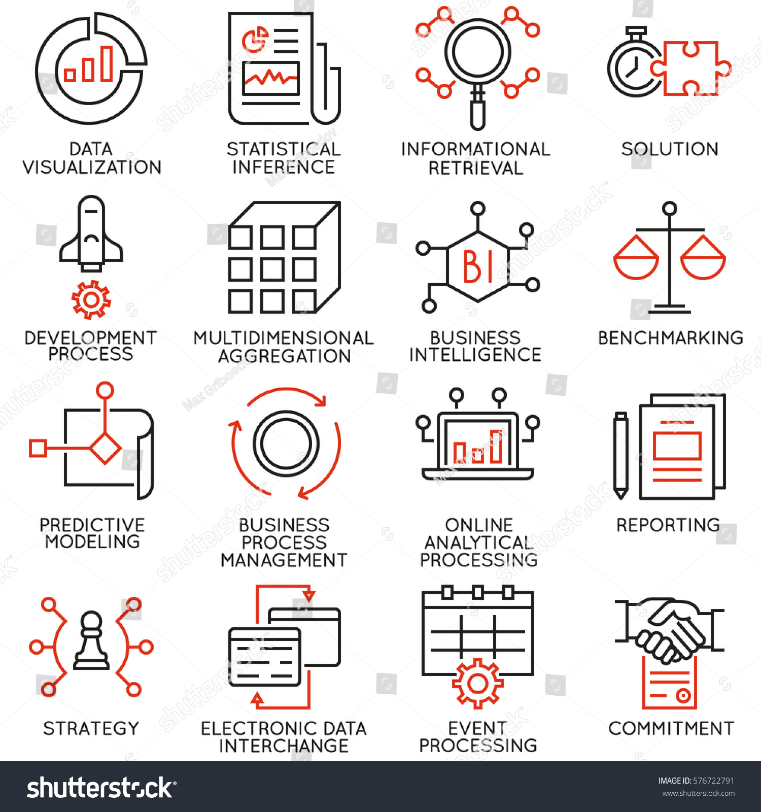 vector set icons related business stock vector  vector set of 16 icons related to business intelligence analytical processing and statistical inference