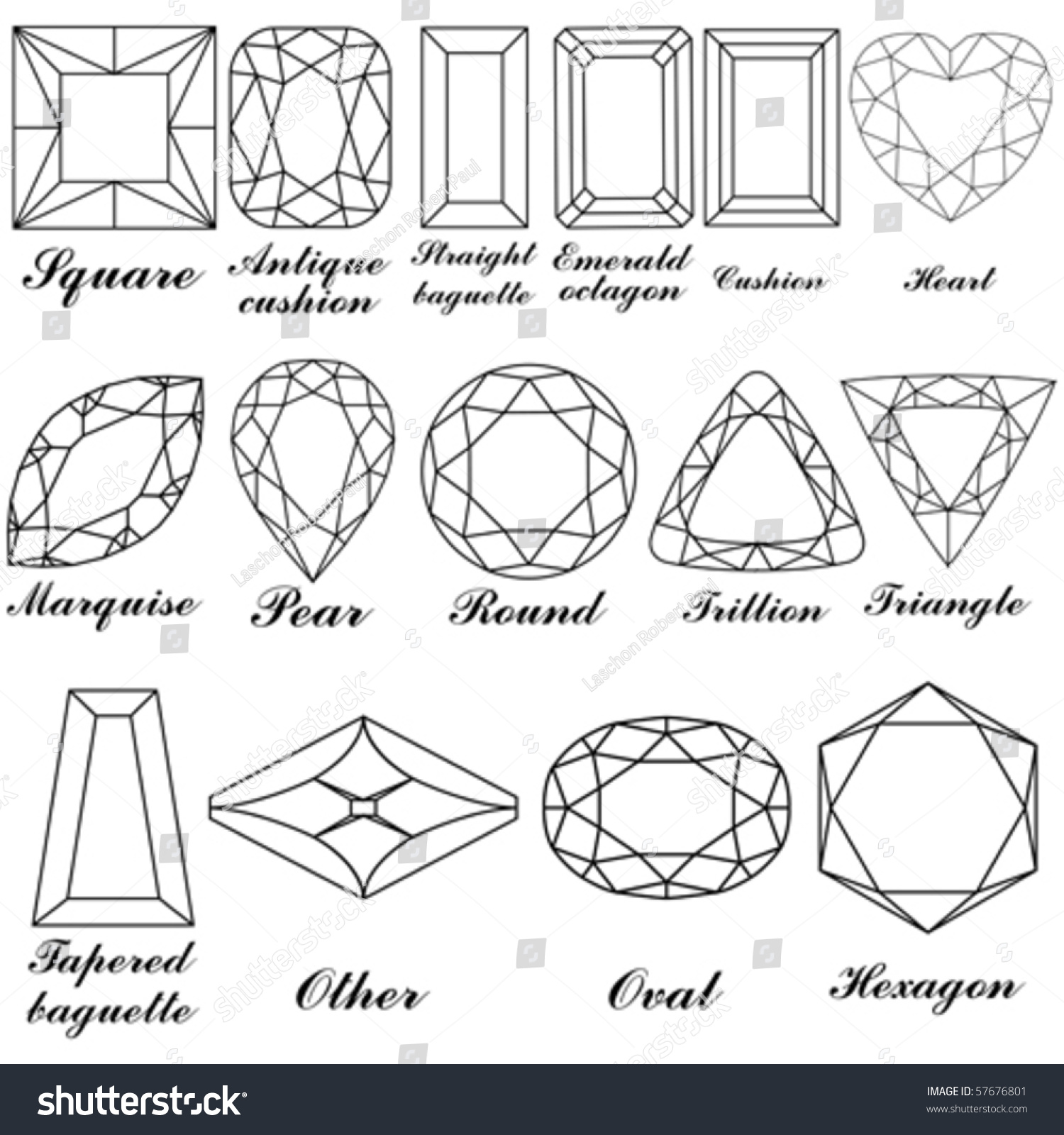 Worksheets Names Of Shapes With Pictures stone shapes their names vector against stock 57676801 and white background