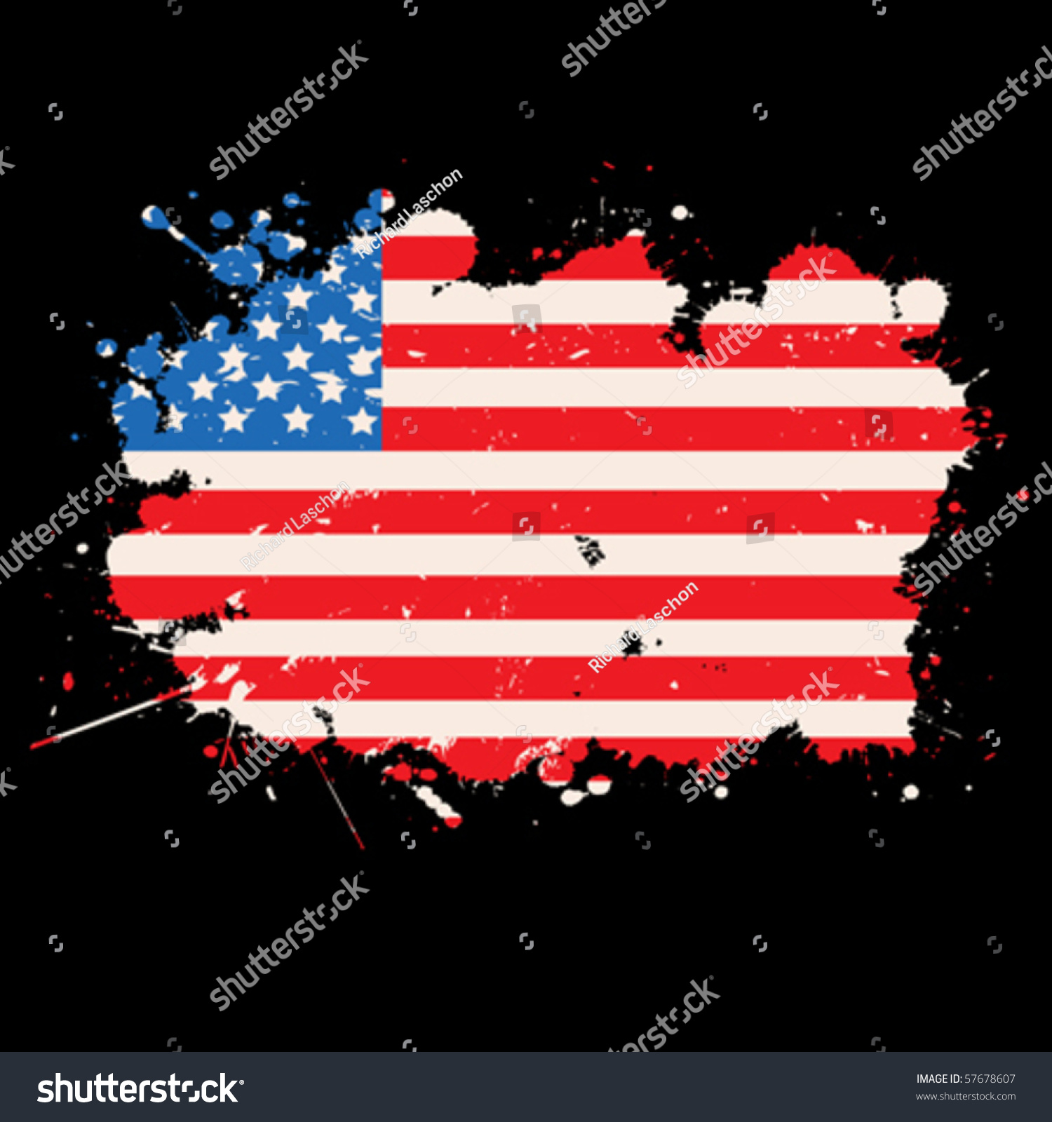 stock-vector-usa-grunge-flag-over-black-