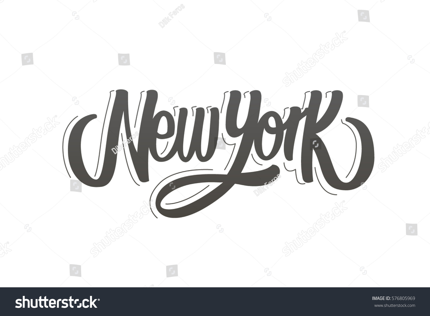 New York Lettering Drawn Typography Lettering Stock Vector