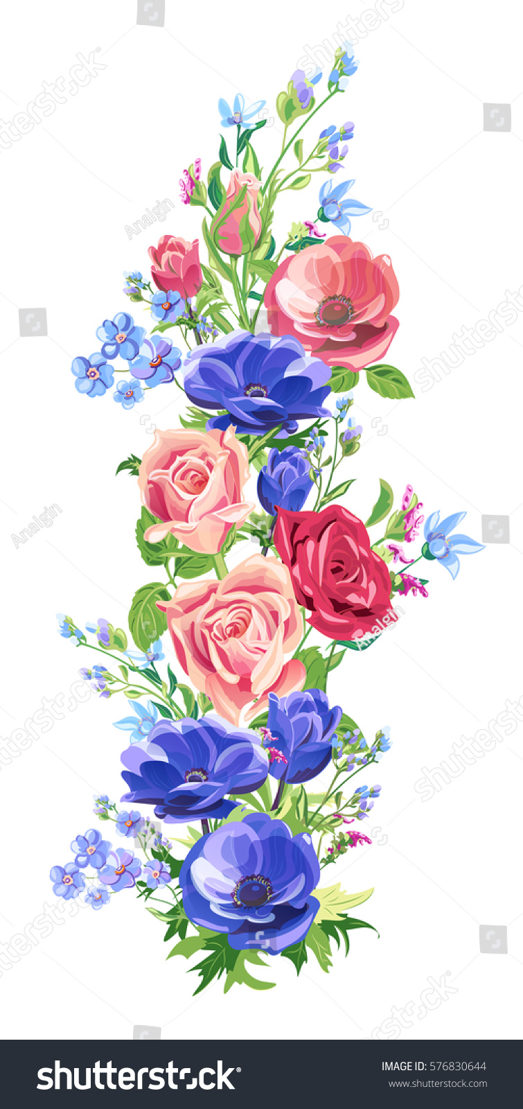 Floral Vertical Border Pink Red Blue Stock Vector ...