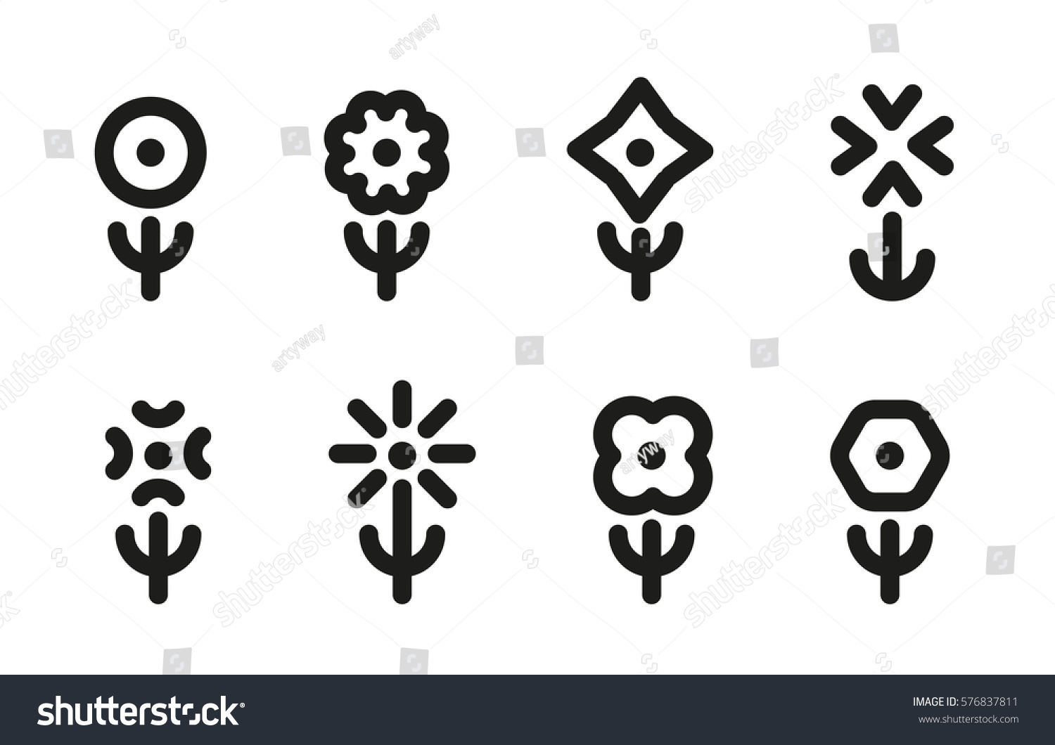 Isolated Black White Color Simple Flat Stock Vector 576837811 ...