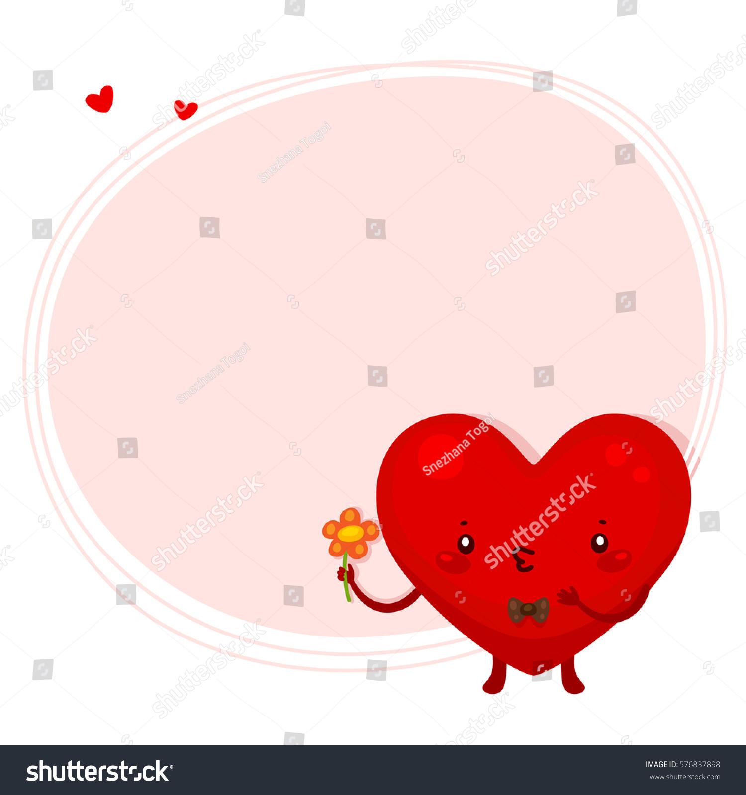 Cute Heart Gentleman Flower Valentine Symbol Stock Vector 576837898