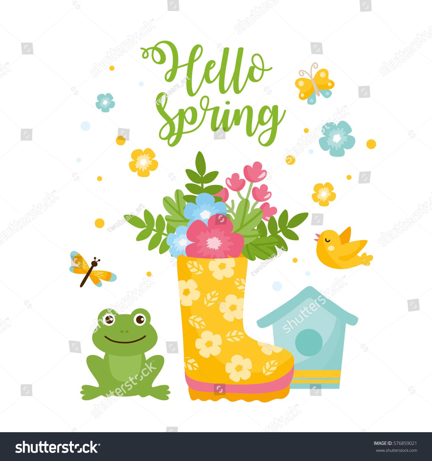 Hello Spring Greeting Card Cute Illustration Stock Vector Royalty