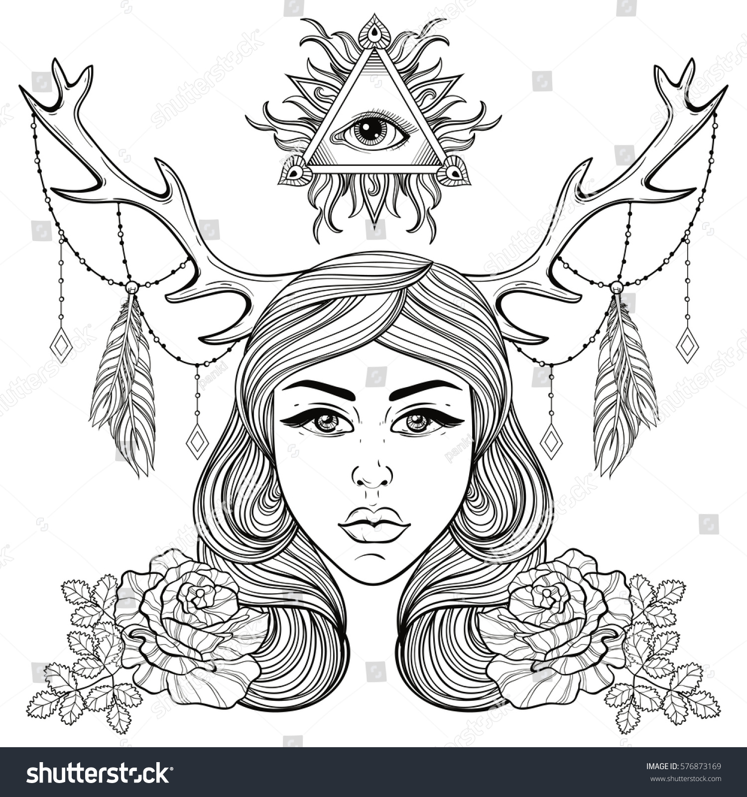 Beautiful Girl Horns Decorated Boho Elements Stock Vector Royalty