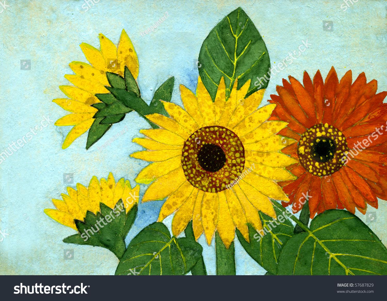 Autumn Red Yellow Flowers Gouache On Stock Illustration 57687829