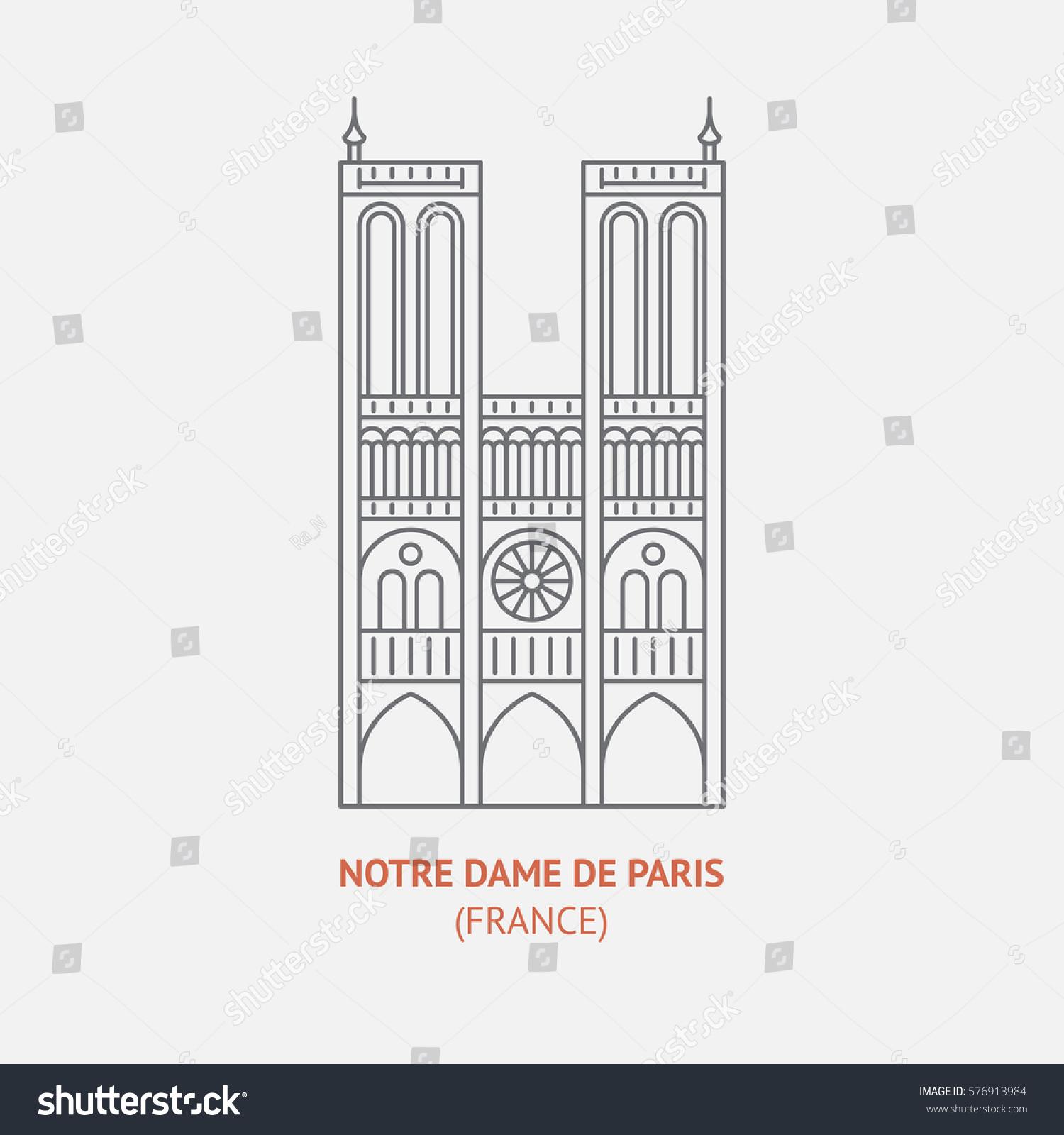 Notre Dame De Paris Disegno.Notre Dame De Paris Thin Vector Stock Vector Royalty Free 576913984