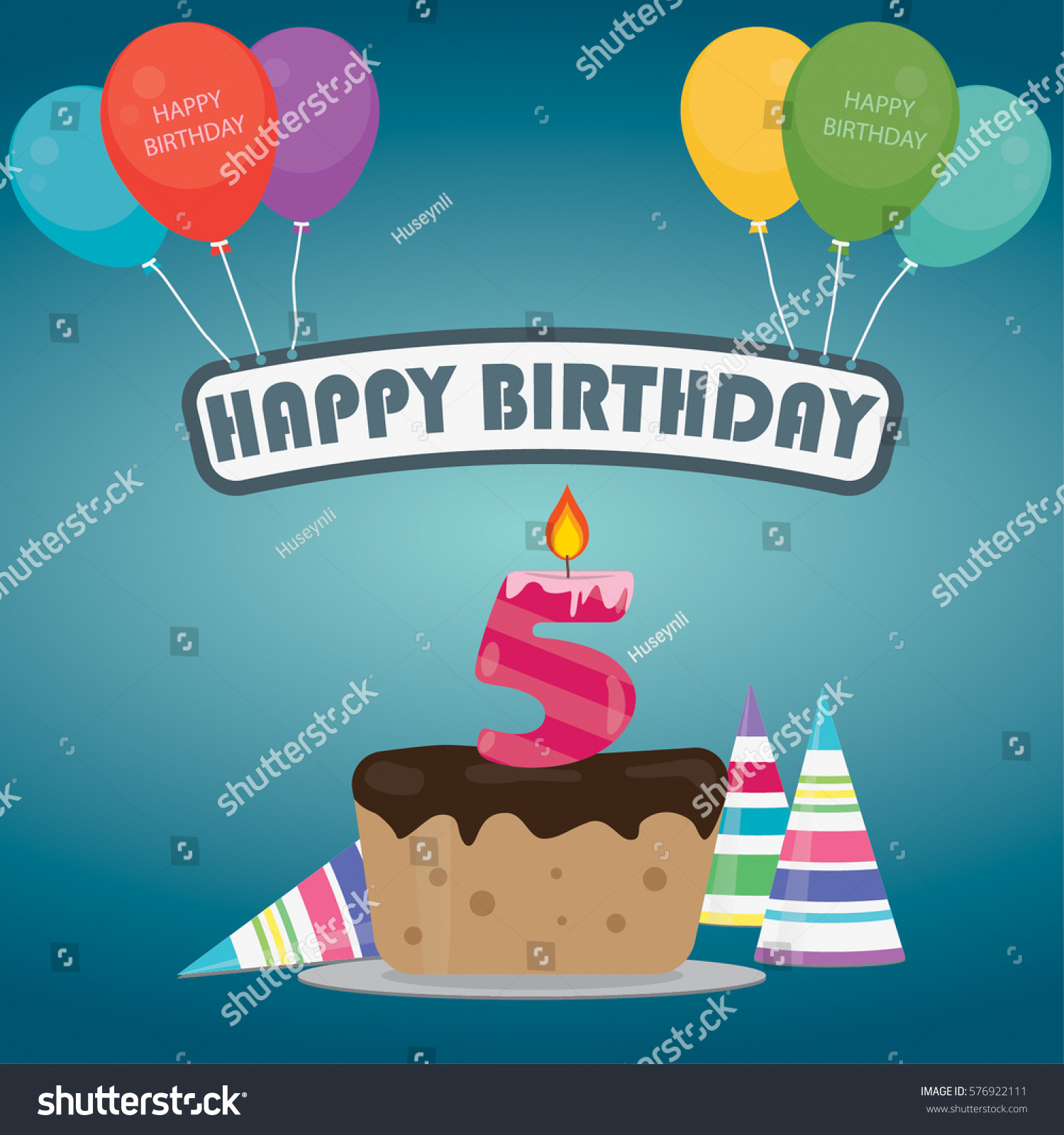 Birthday Cake Candle Number 5 Flat Stock Vector 576922111 Shutterstock