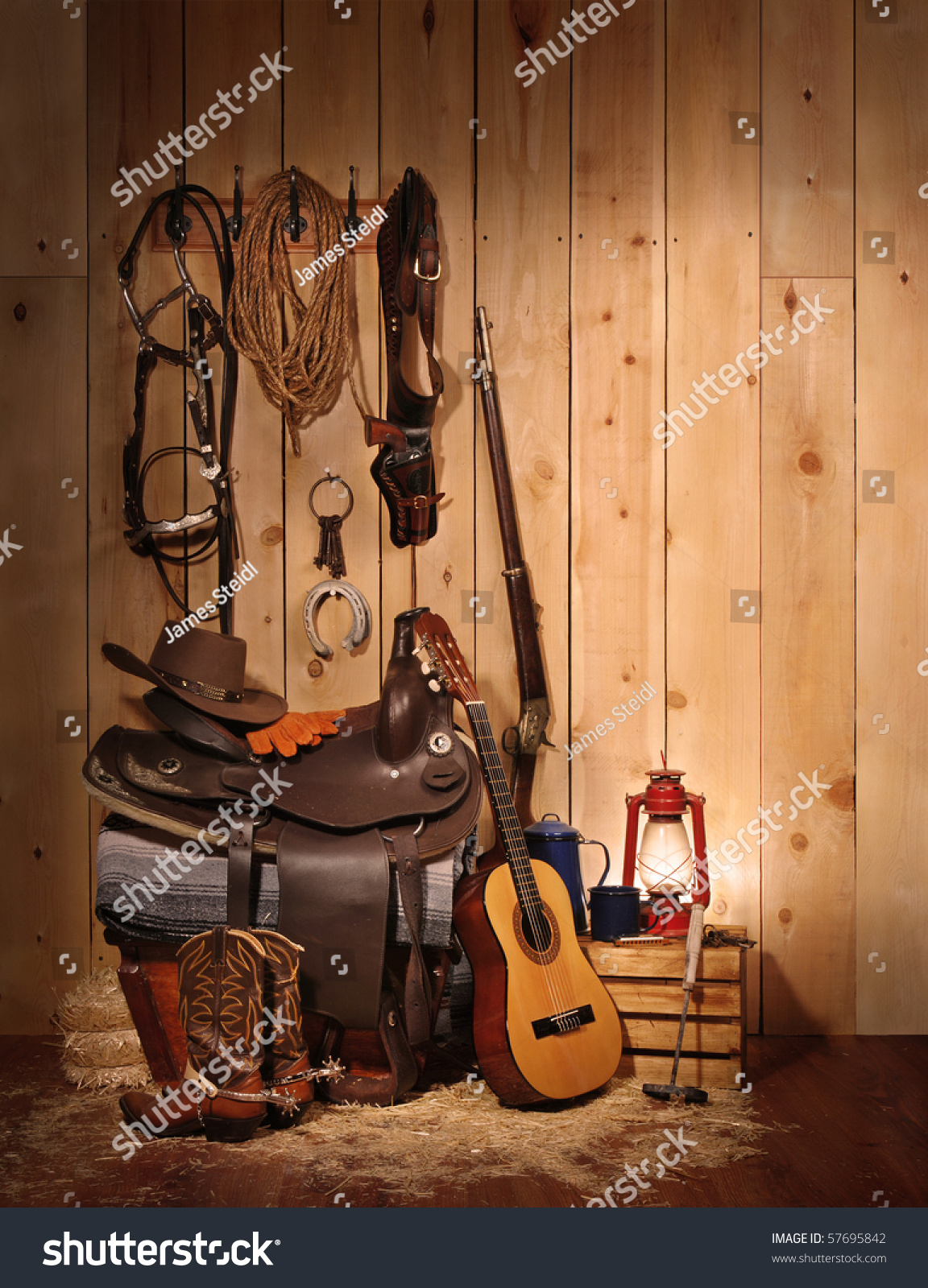 Western Themed Layout Leaving Copy Space Stock Photo