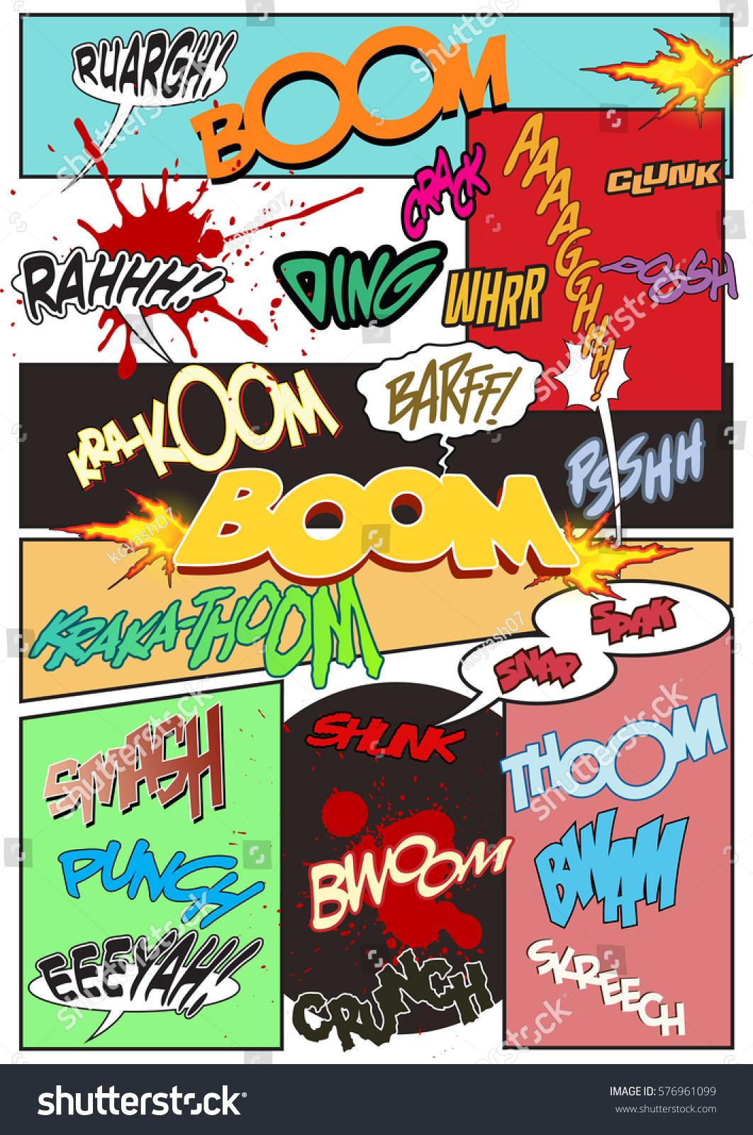 Vector Comic Book Sound Effects Onomatopoeia Stock Vector