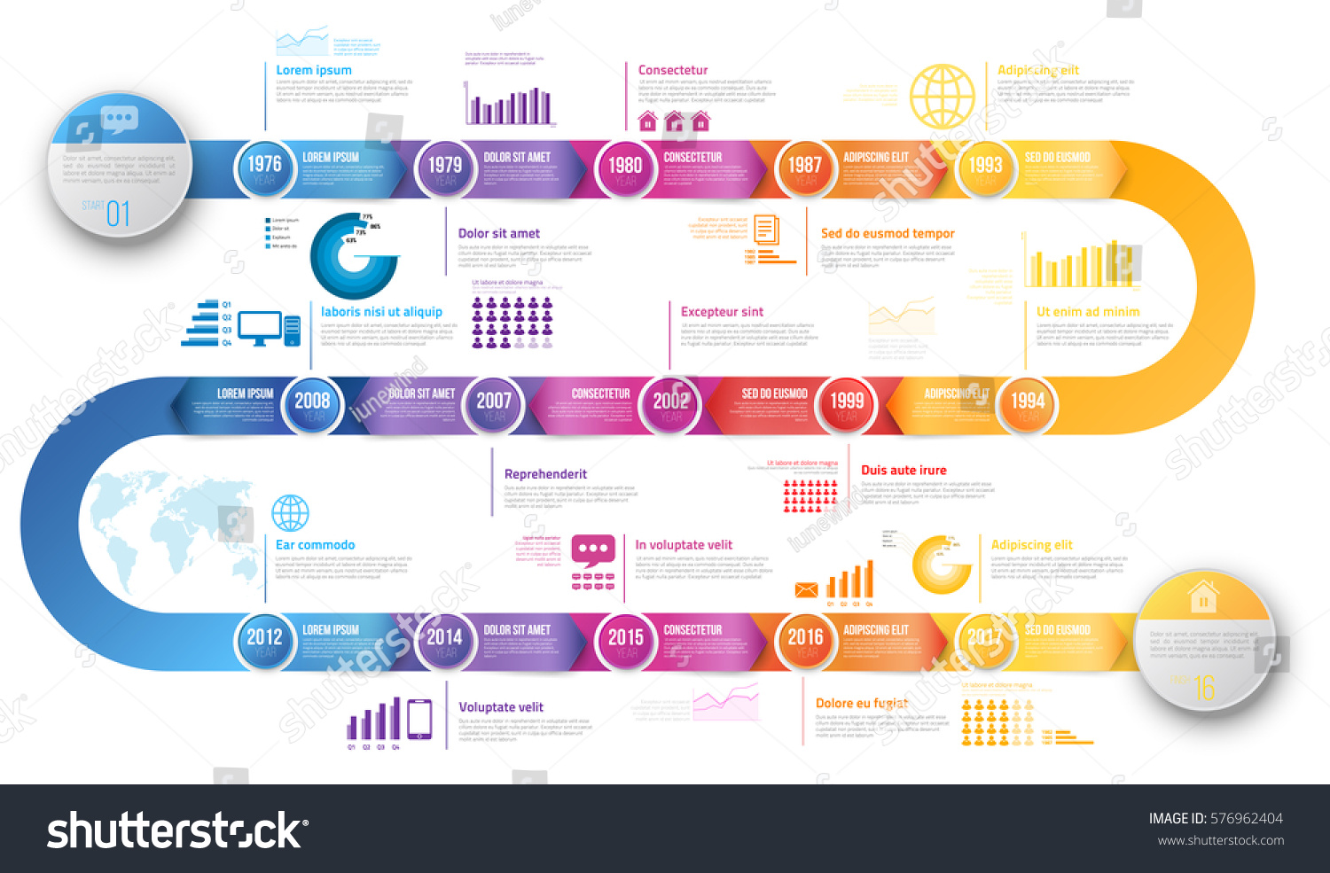 colorful template business concept timeline arrows のベクター画像