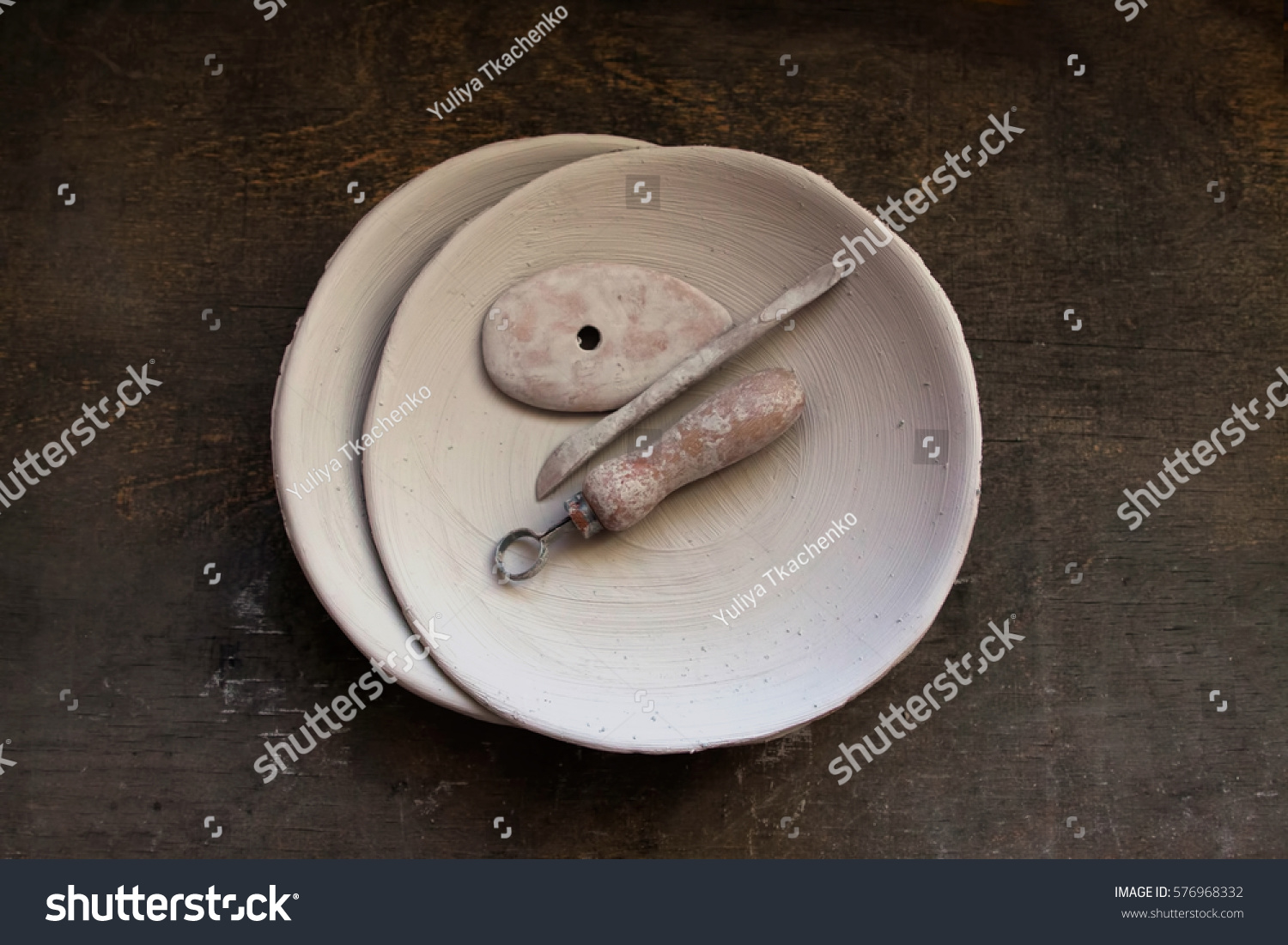 Ceramic working process. Making plates. & Ceramic Working Process Making Plates Stock Photo (Royalty Free ...
