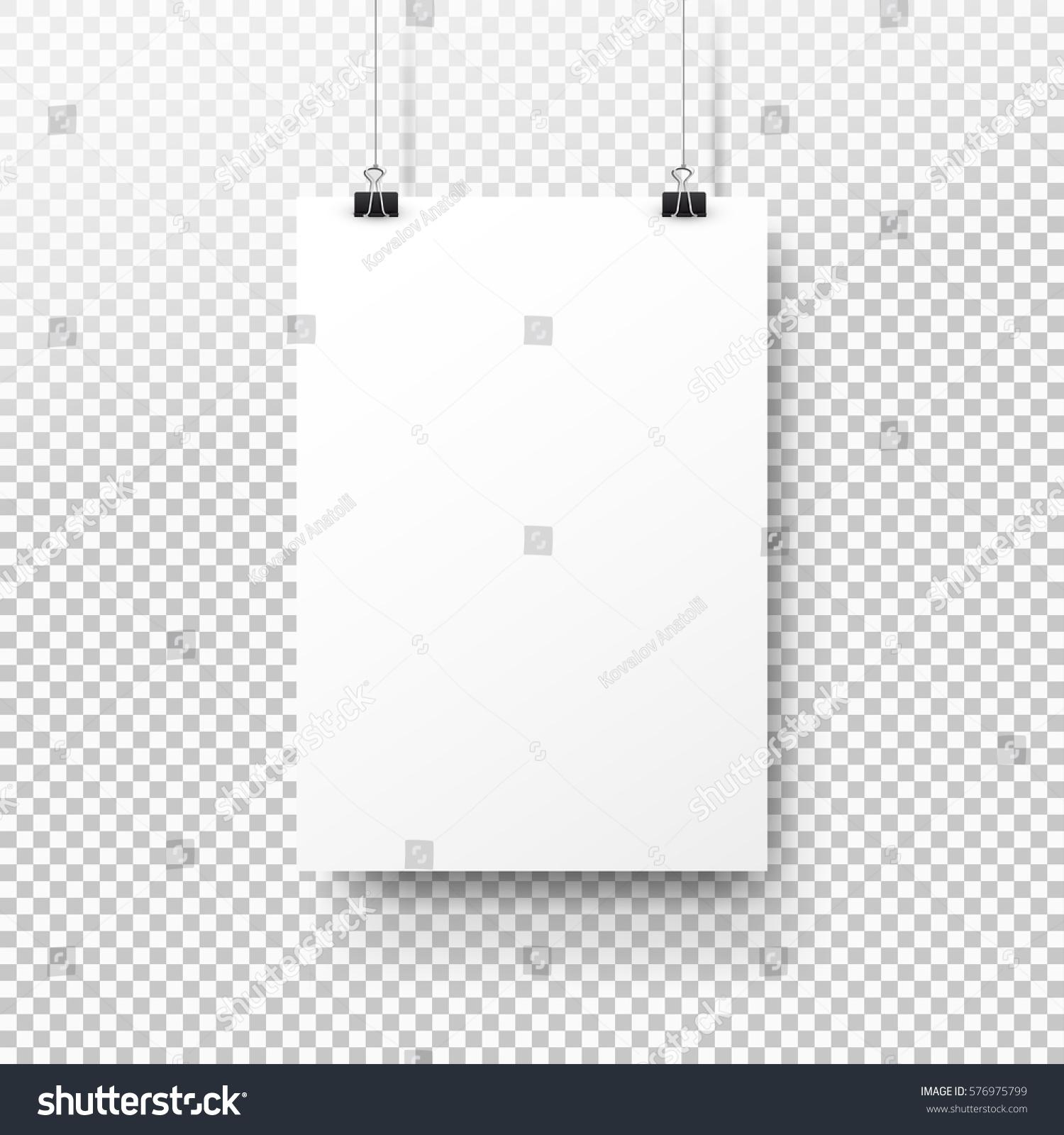 White Poster Hanging On Binder Transparent Stock-Vektorgrafik ...