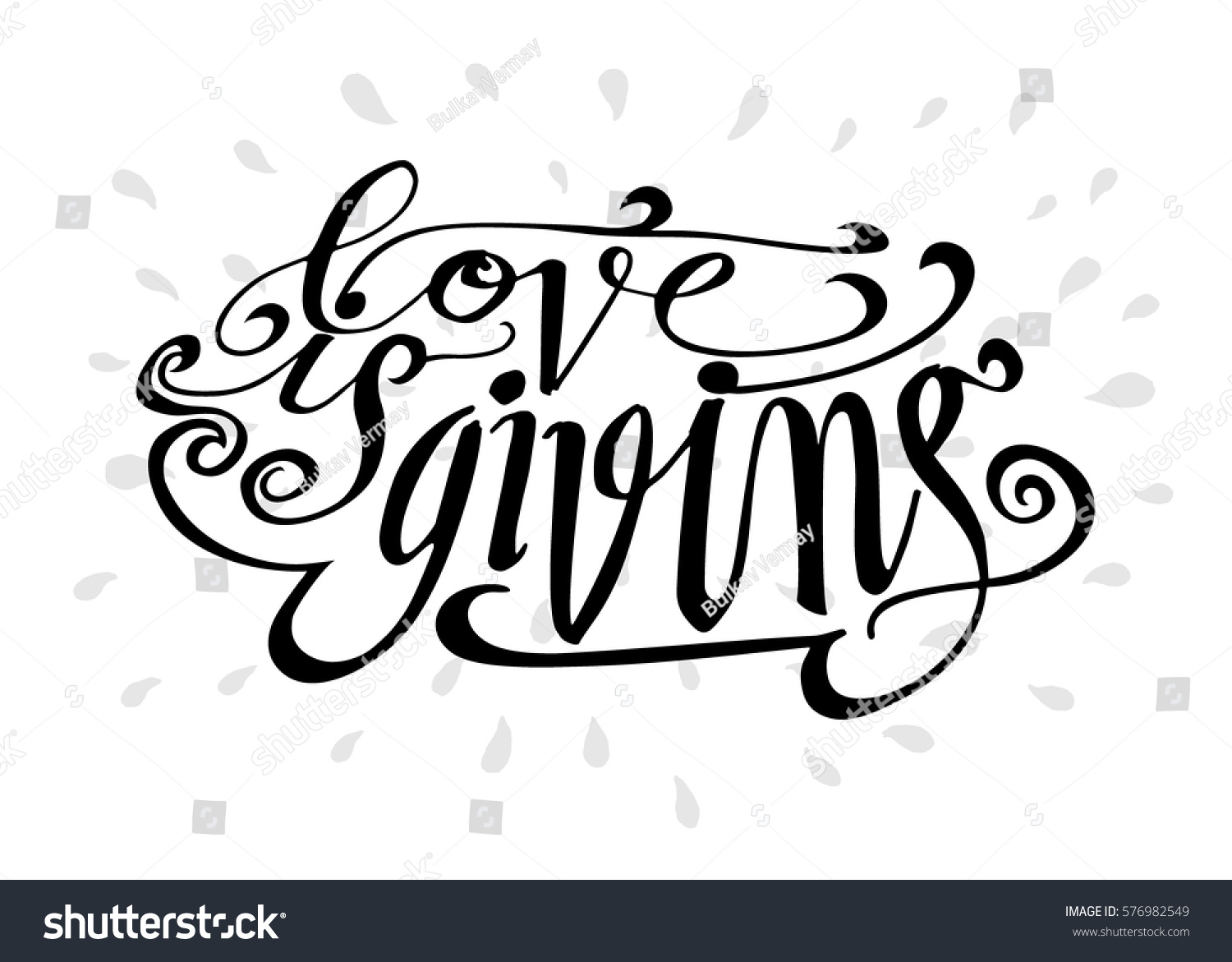 Love giving hand lettered quote modern stock vector