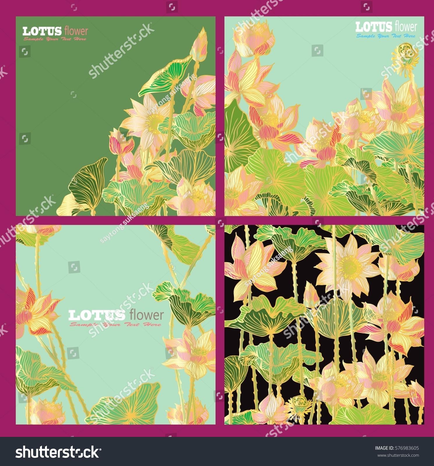 Set Vector Gift Voucher Template Lotus Stock Vector 576983605 ...