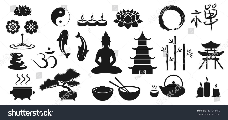 Zen Icons Vector Illustration Main Buddhistic Stock Vector Royalty