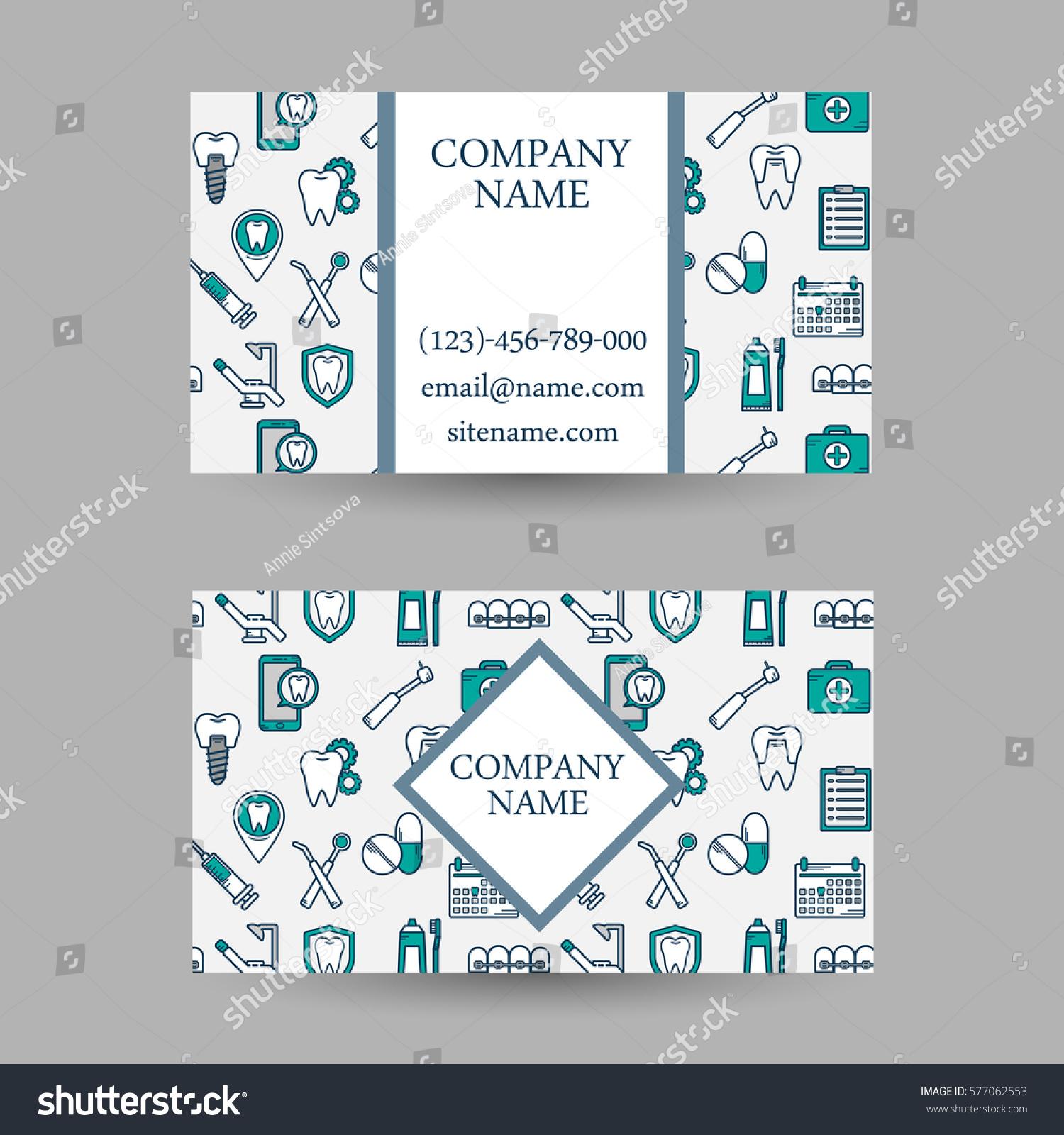 Vector Set Business Card Templates Dental Stock Vector 577062553 ...
