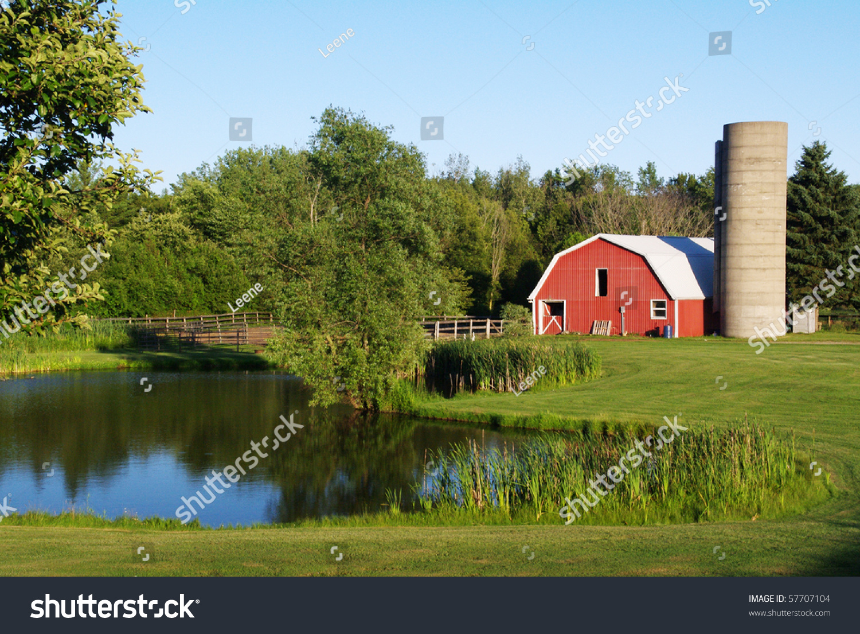 Barn By Pond Stock Photo 57707104 : Shutterstock