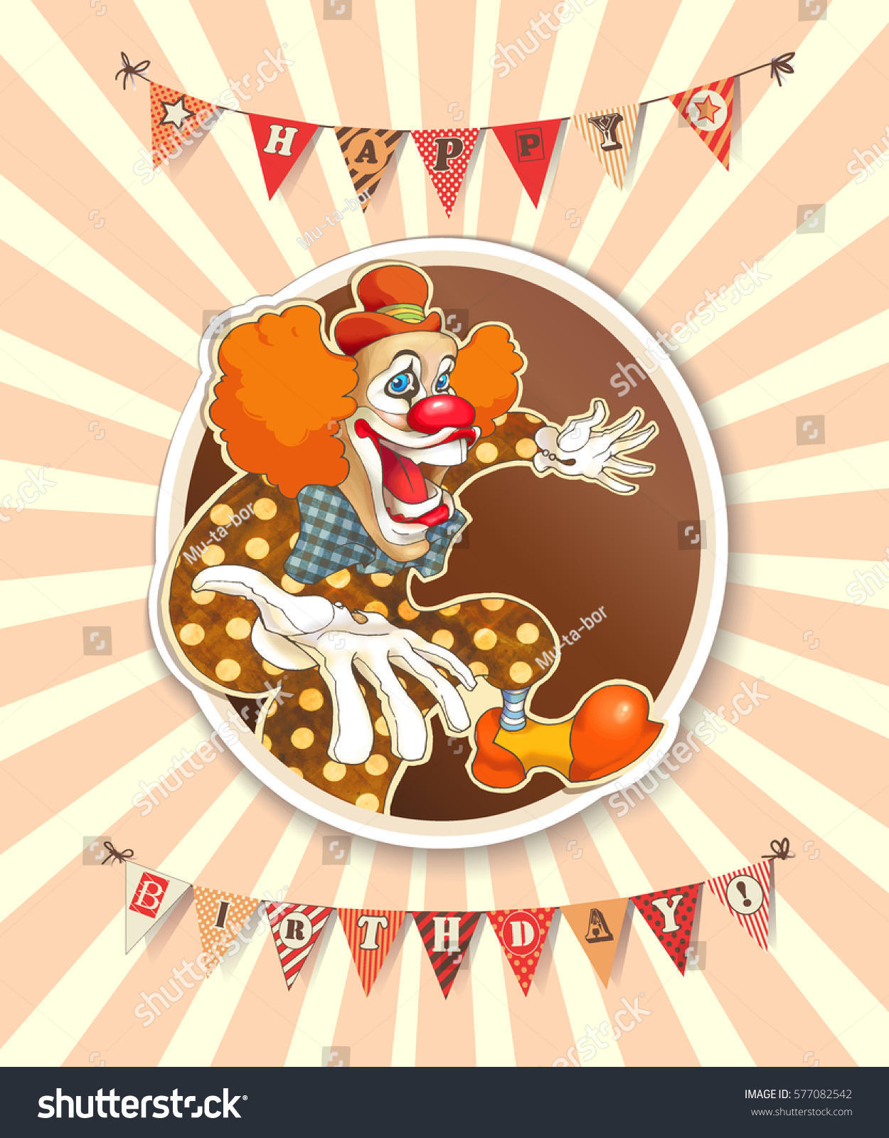 Happiness Clown Lettering Happy Birthday On Vector 577082542 – Clown Birthday Cards