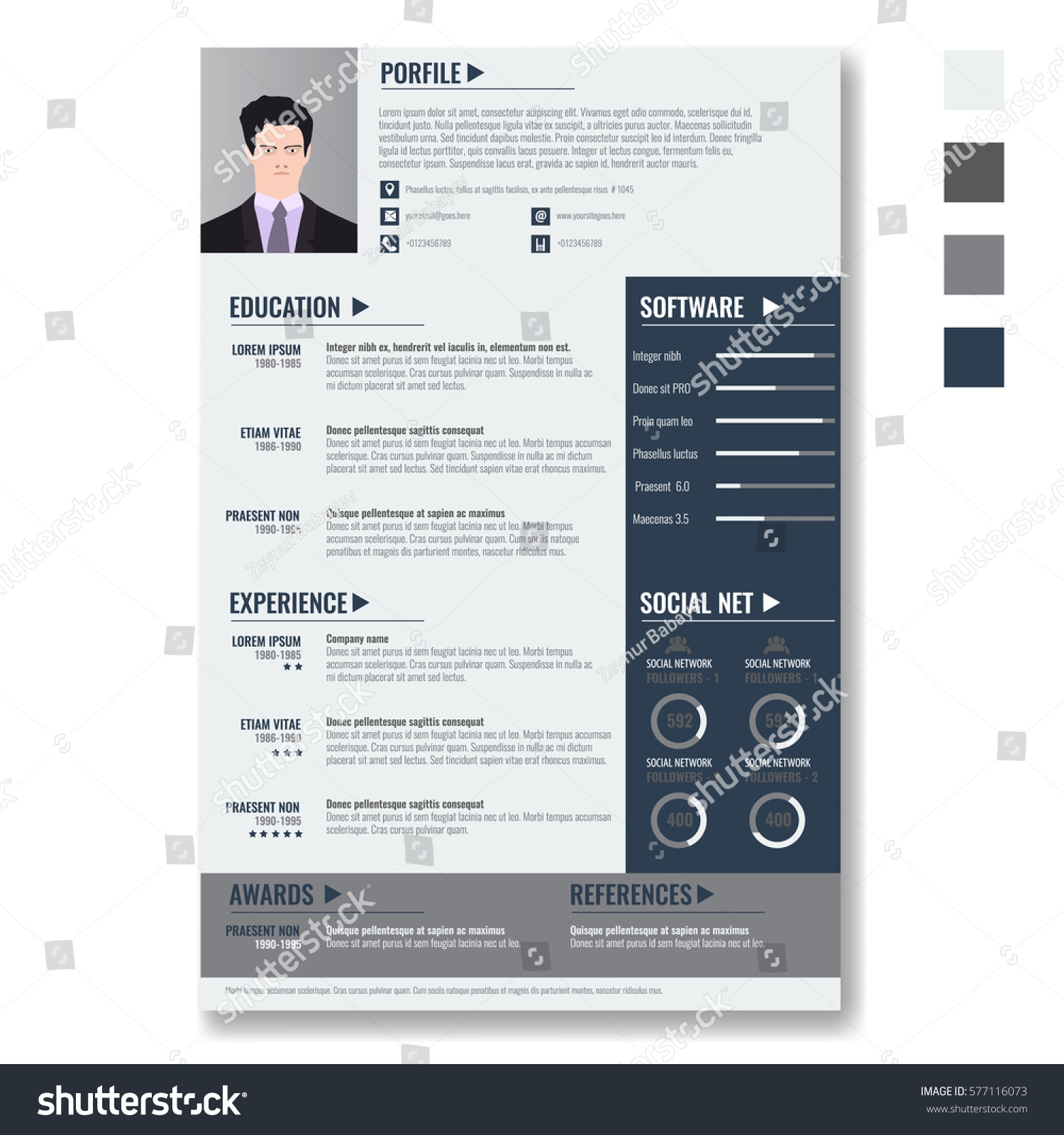 vector creative minimalist cv resume template stock vector 577116073